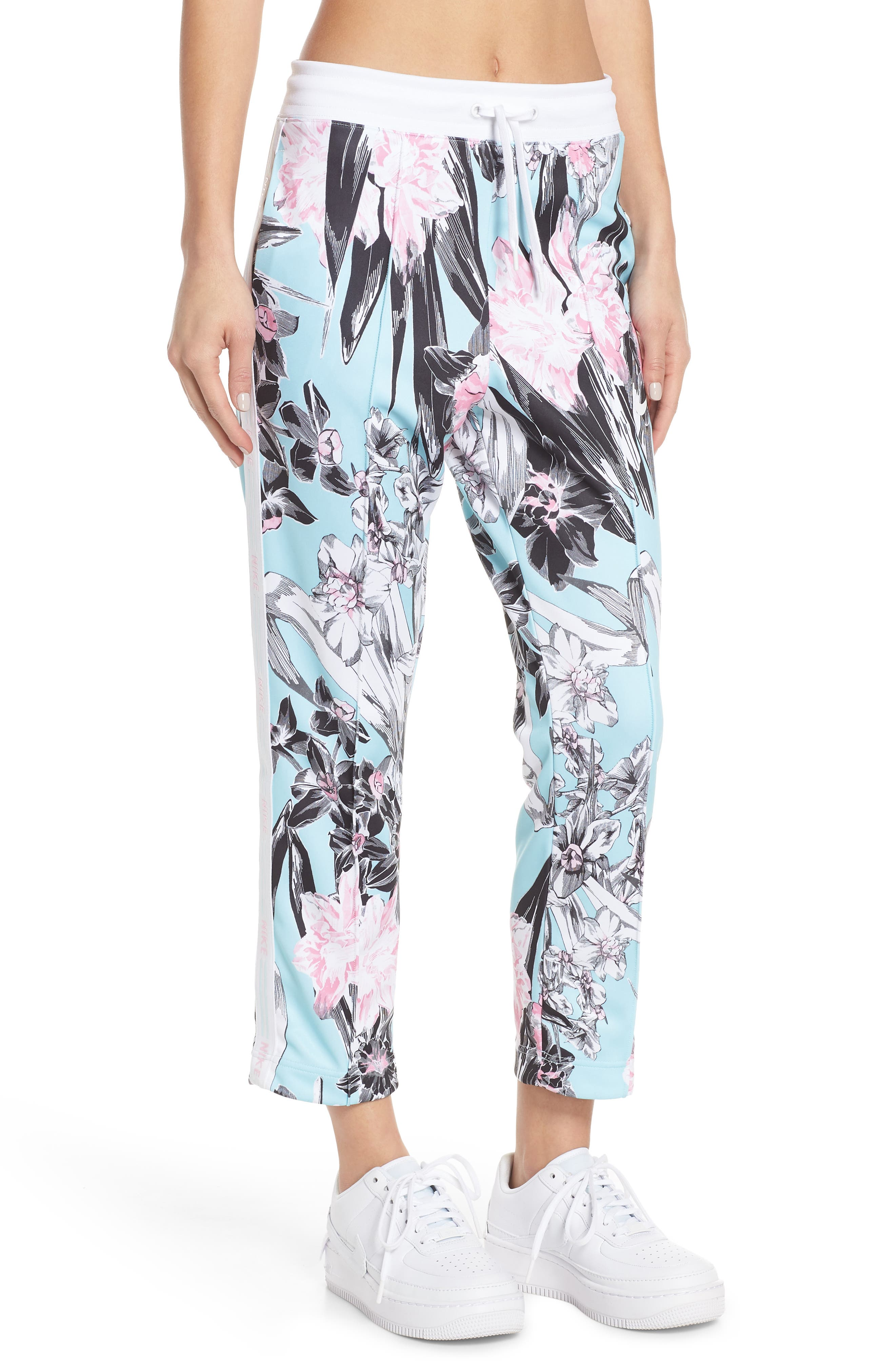 NIKE, Sportswear Floral Print Pants, Main thumbnail 1, color, TOPAZ MIST/ WHITE/ WHITE
