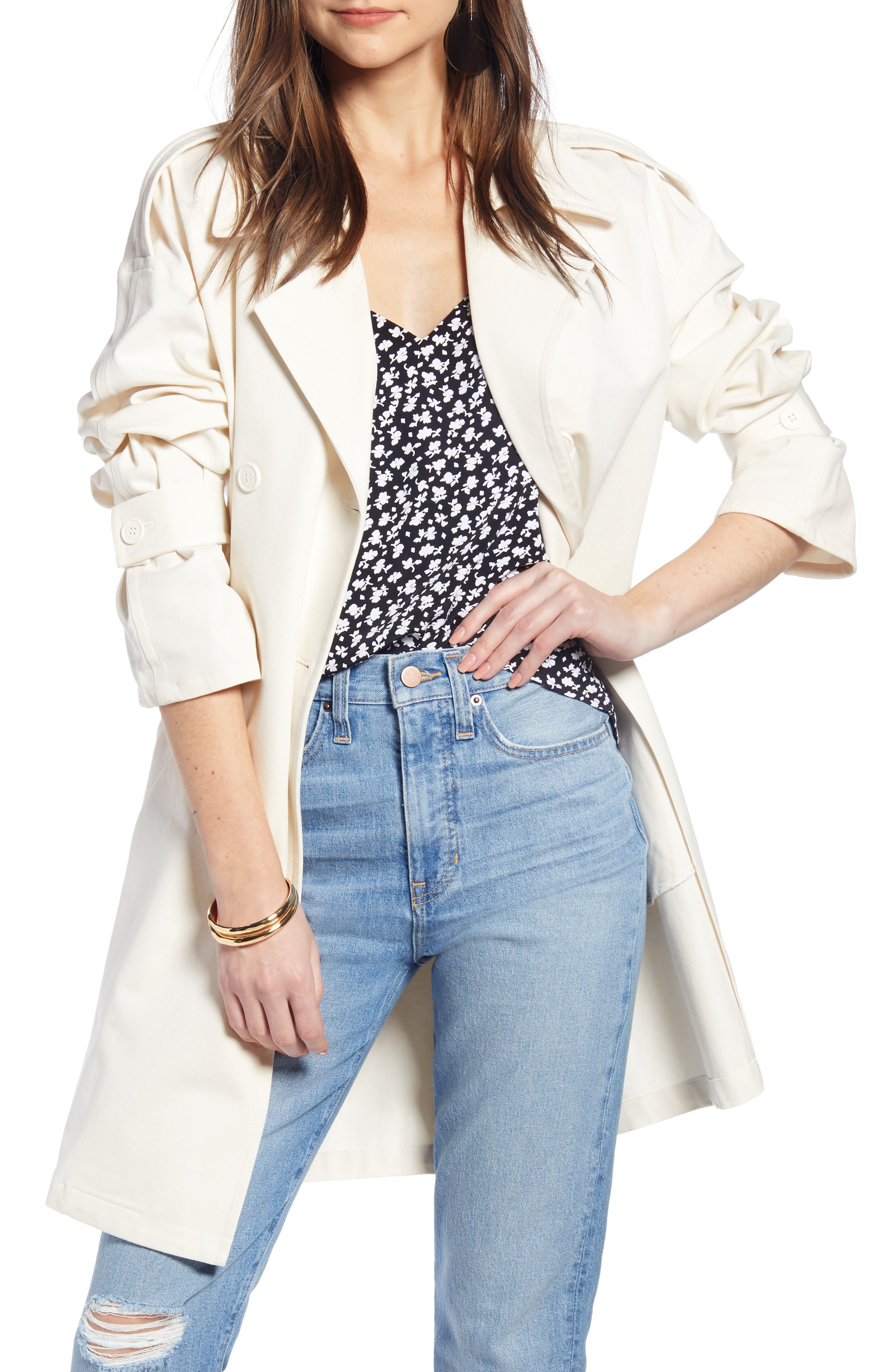 SOMETHING NAVY Easy Oversize Trench, Main, color, PINK SEA SALT