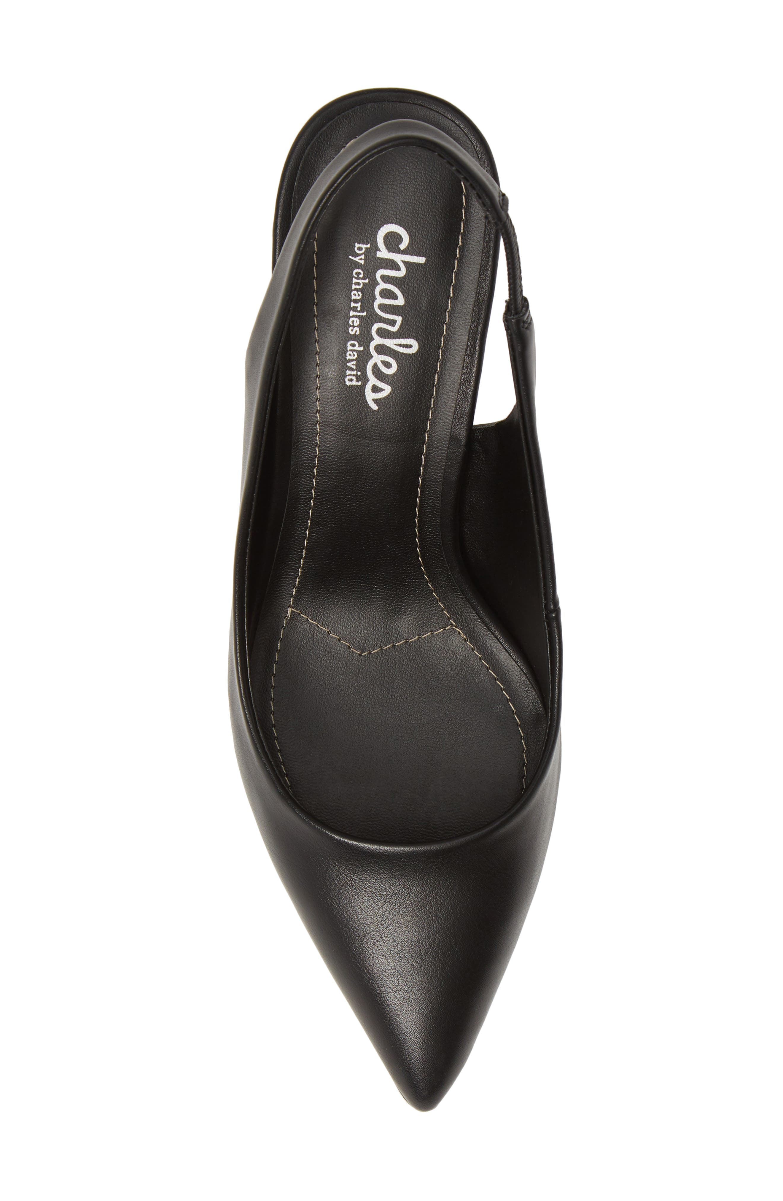 CHARLES BY CHARLES DAVID, Amy Slingback Pump, Alternate thumbnail 5, color, BLACK FAUX LEATHER