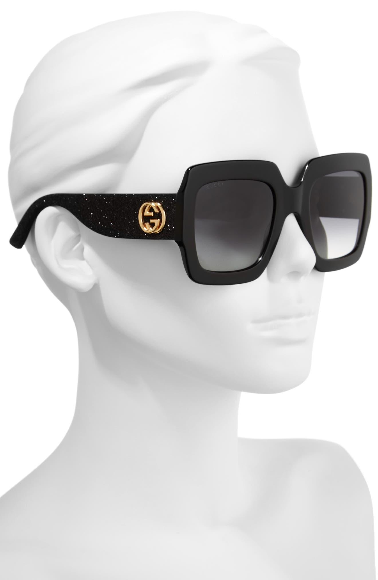 GUCCI, 54mm Square Sunglasses, Alternate thumbnail 2, color, BLACK/ GREY