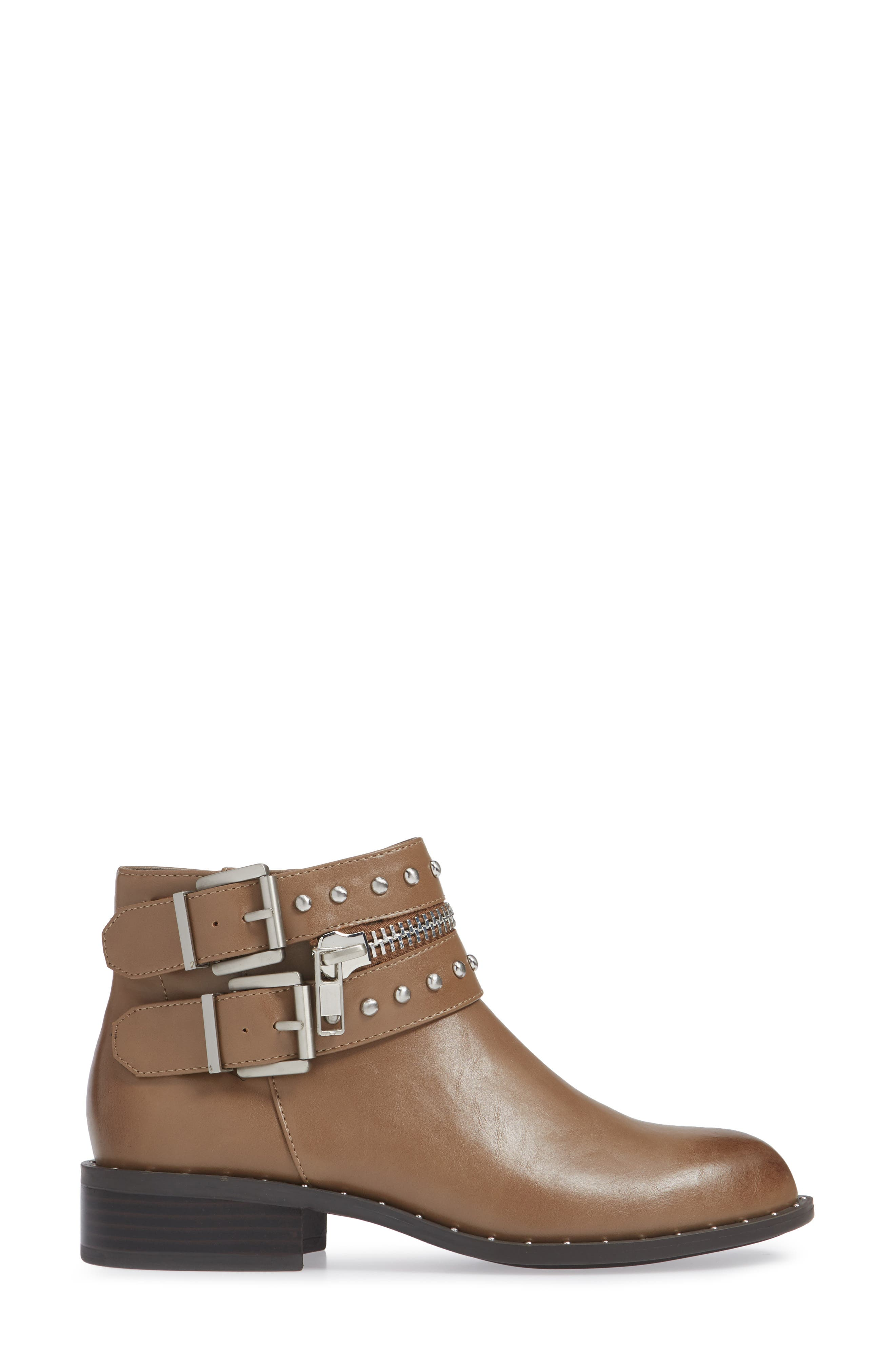 CHARLES BY CHARLES DAVID, Thief Studded Bootie, Alternate thumbnail 3, color, TAUPE SYNTHETIC