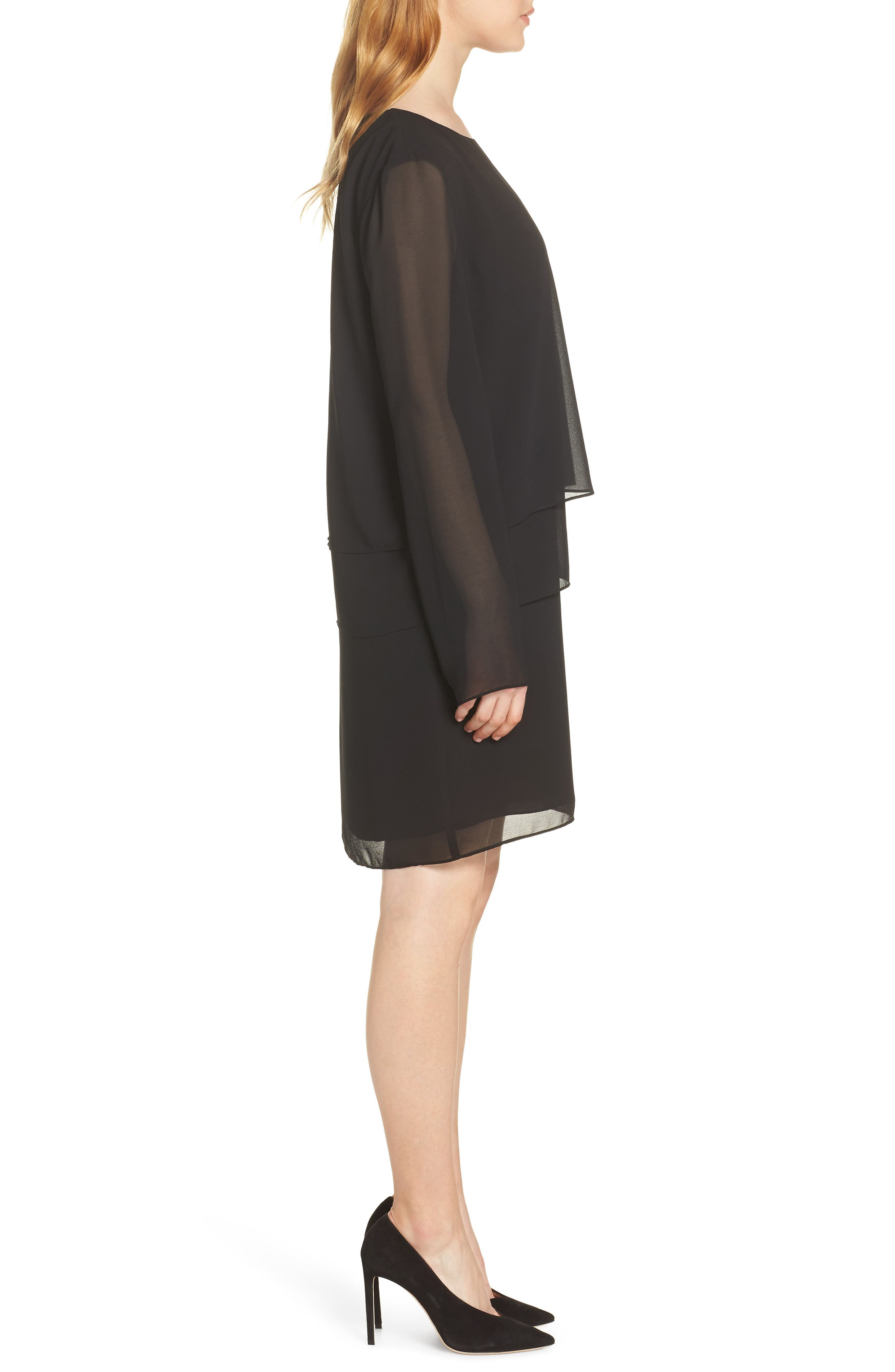 CHARLES HENRY, Layered Popover Chiffon Dress, Alternate thumbnail 4, color, 001