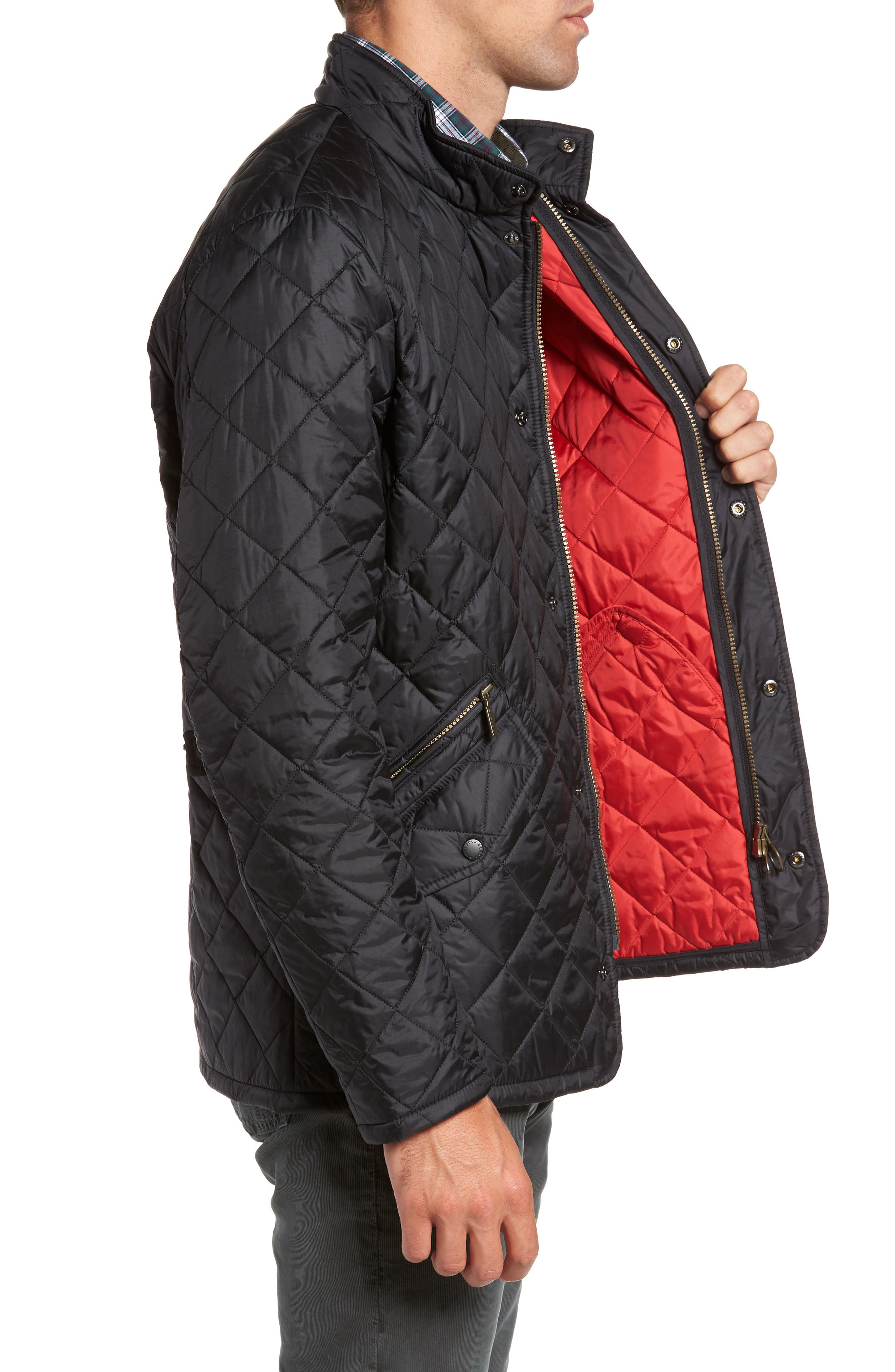 BARBOUR, Flyweight Chelsea Quilted Jacket, Alternate thumbnail 4, color, BLACK