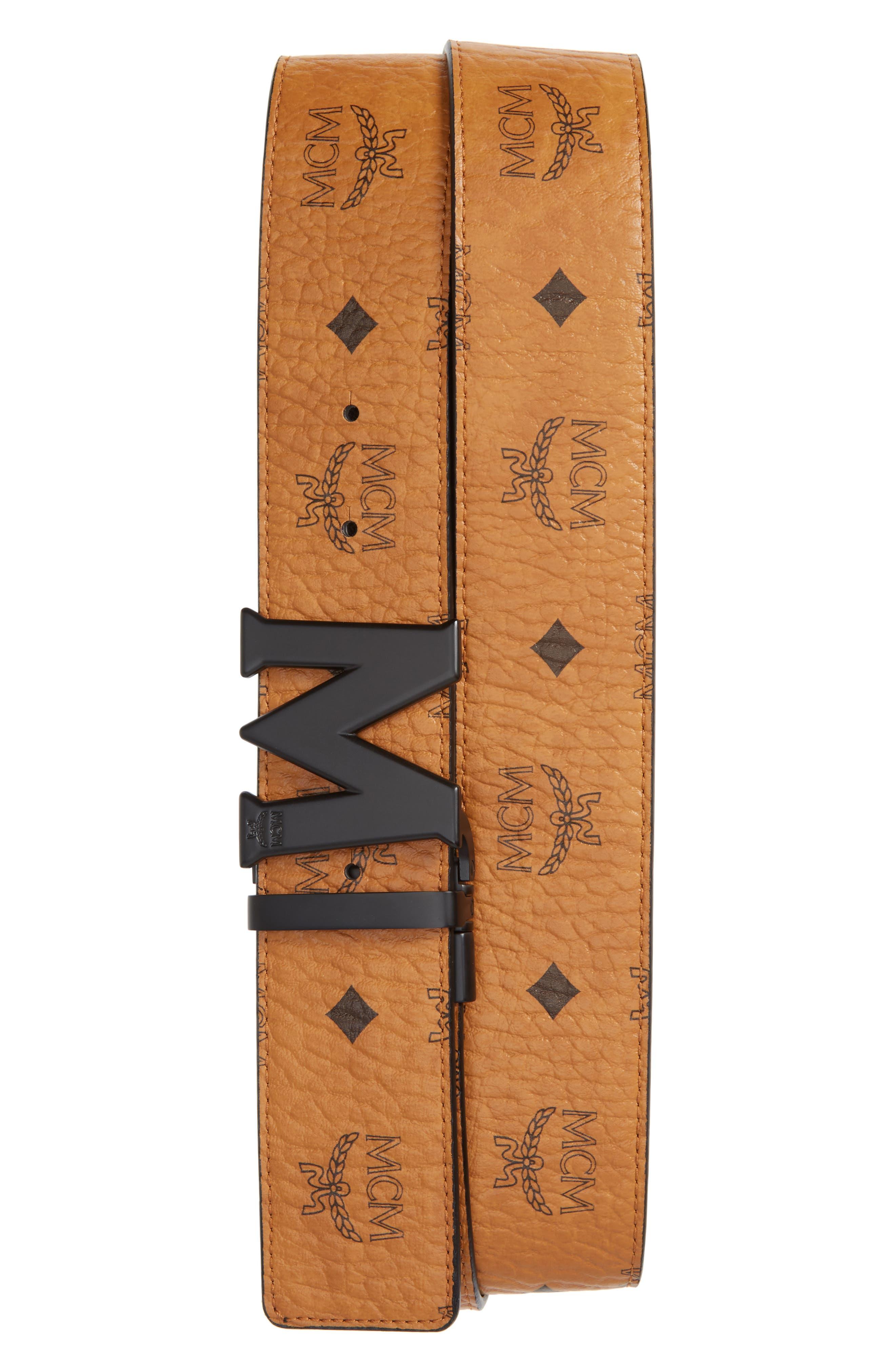 MCM, Reversible Signature Leather Belt, Main thumbnail 1, color, COGNAC