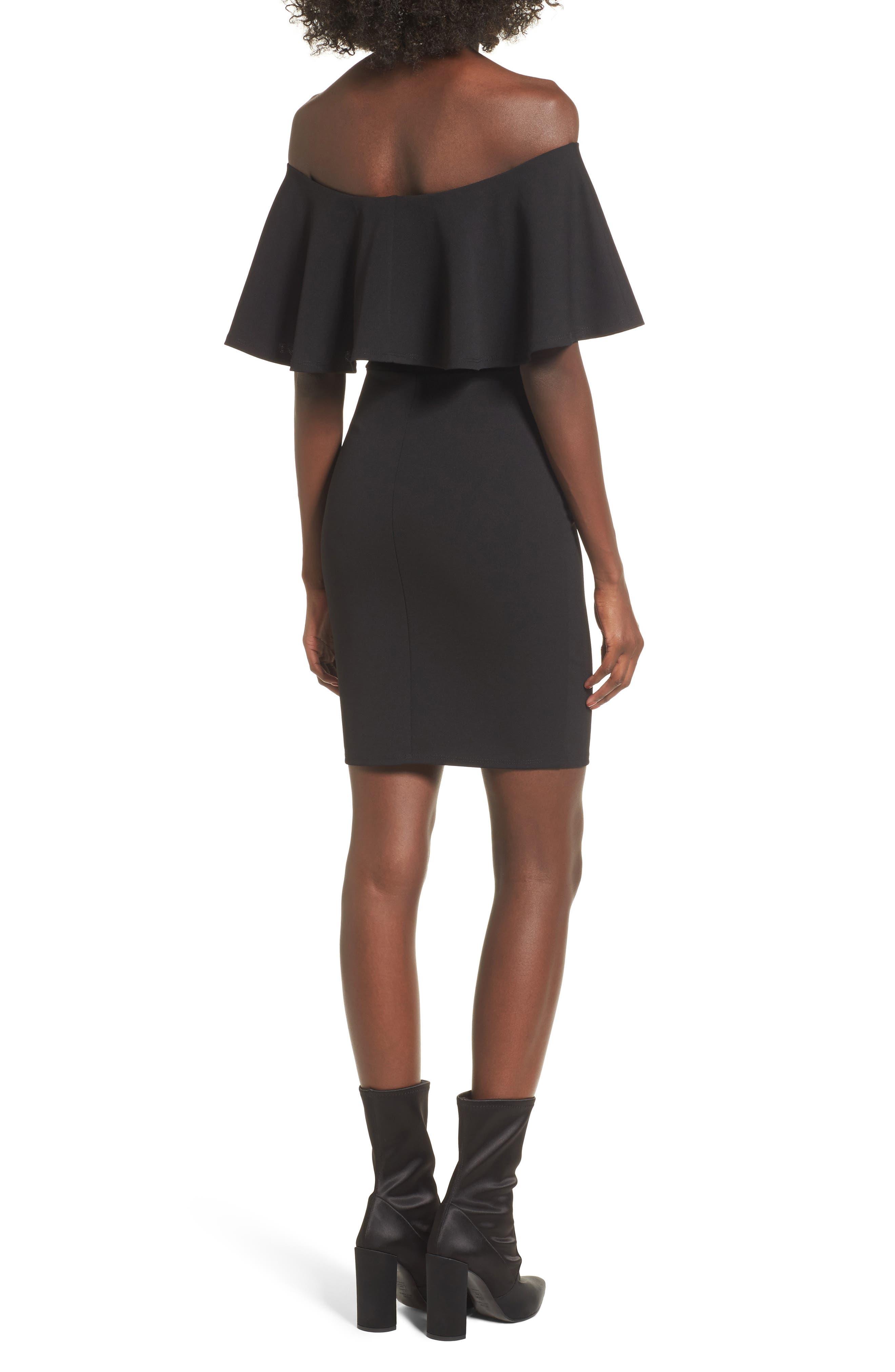 SOPRANO, Ruffle Off the Shoulder Body-Con Dress, Alternate thumbnail 2, color, 001