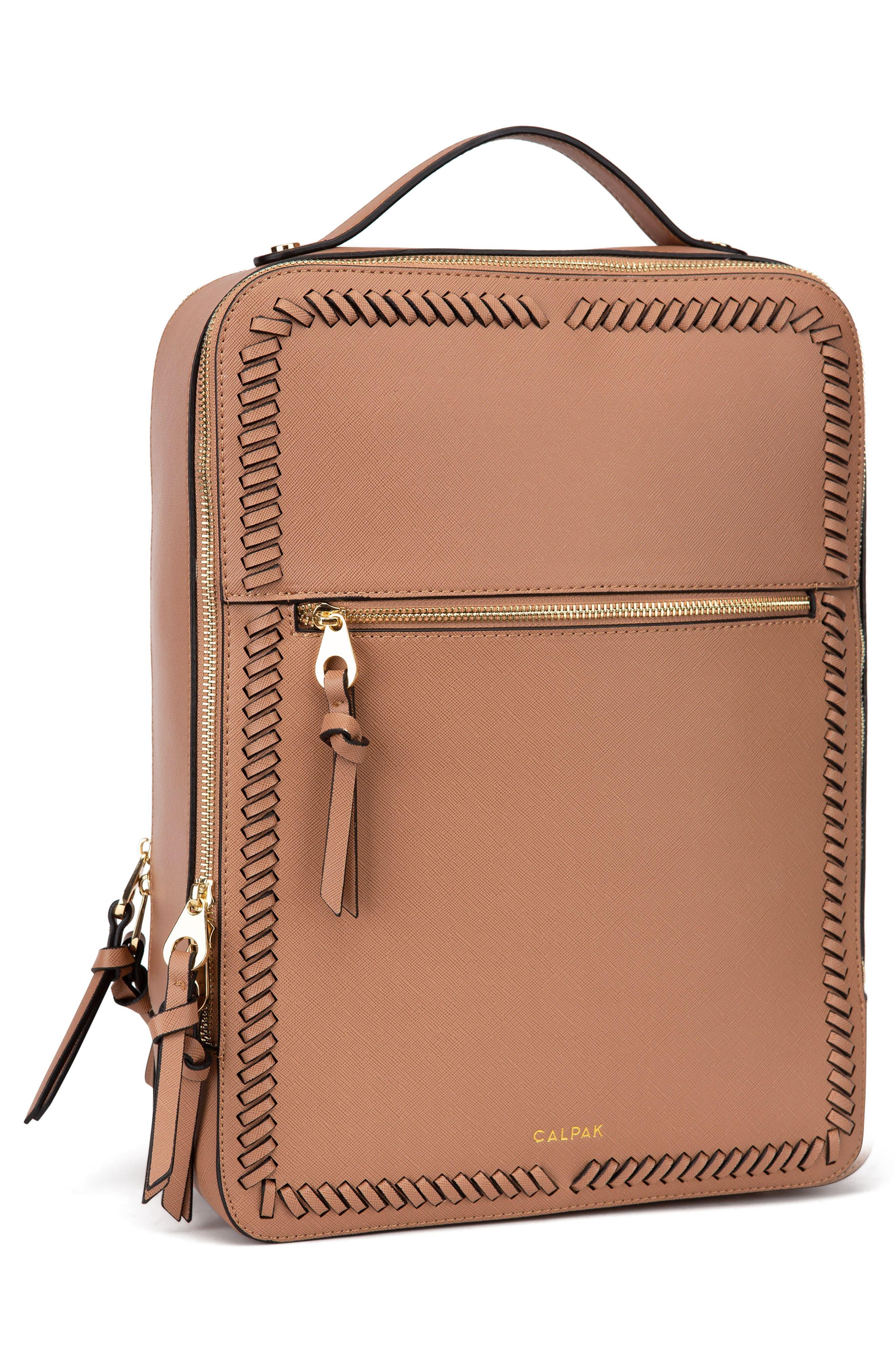 CALPAK, Kaya Faux Leather Laptop Backpack, Alternate thumbnail 5, color, CARAMEL