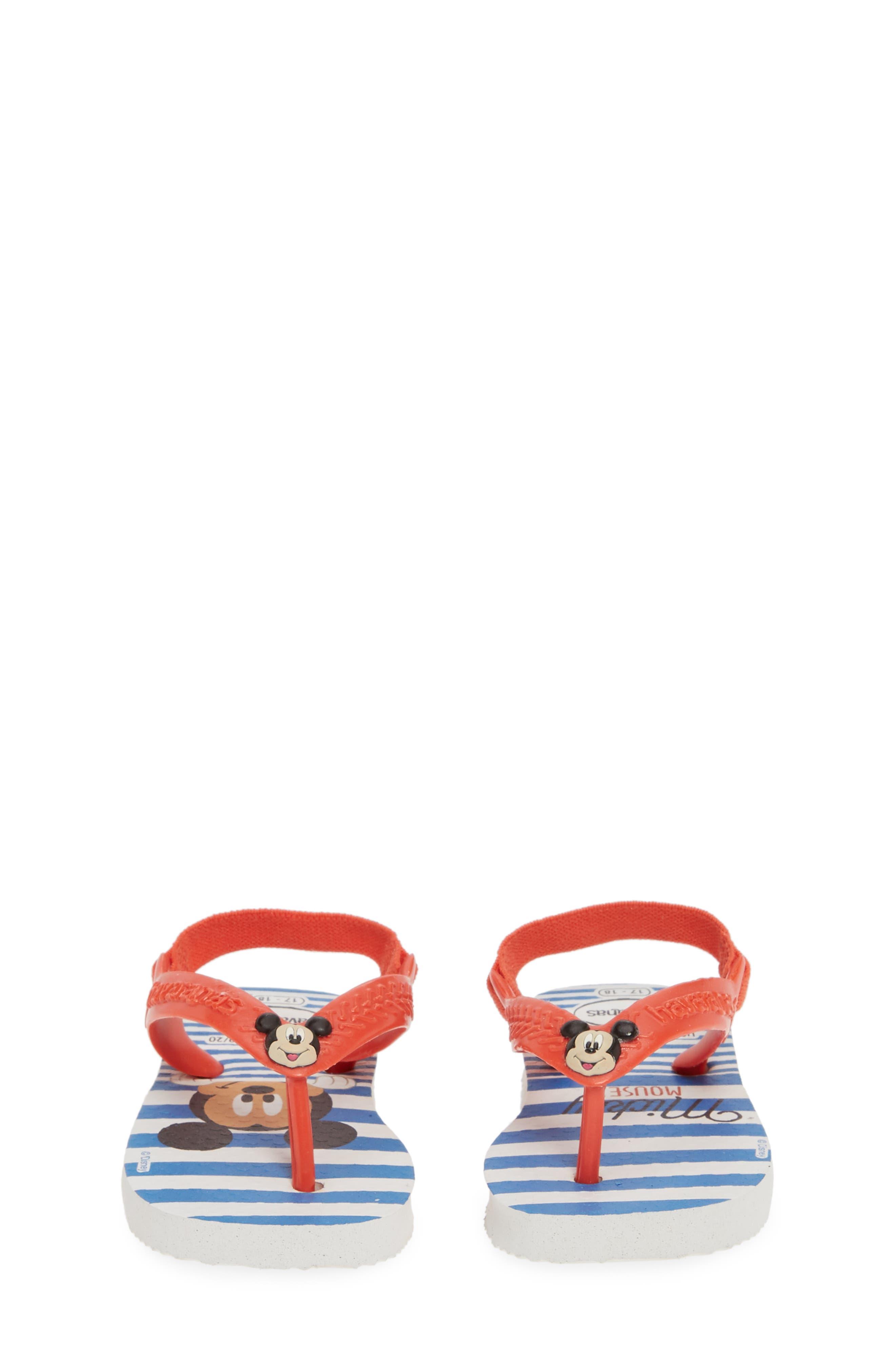 HAVAIANAS, Baby Disney Classics Flip Flop, Alternate thumbnail 5, color, WHITE/ STRAWBERRY COLOR