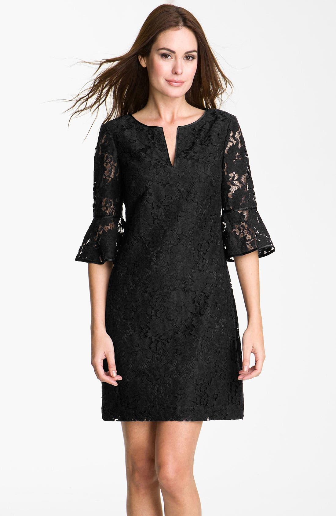 ADRIANNA PAPELL, Ruffle Sleeve Lace Dress, Main thumbnail 1, color, 001