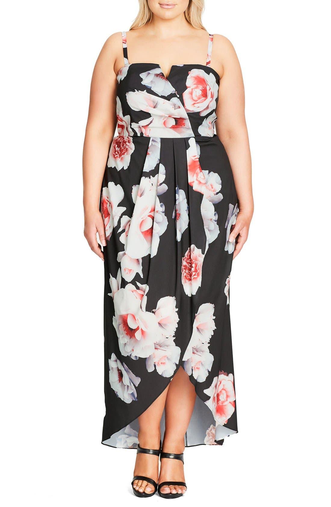 CITY CHIC, 'Open Rose' Print Tulip Hem Maxi Dress, Main thumbnail 1, color, 001