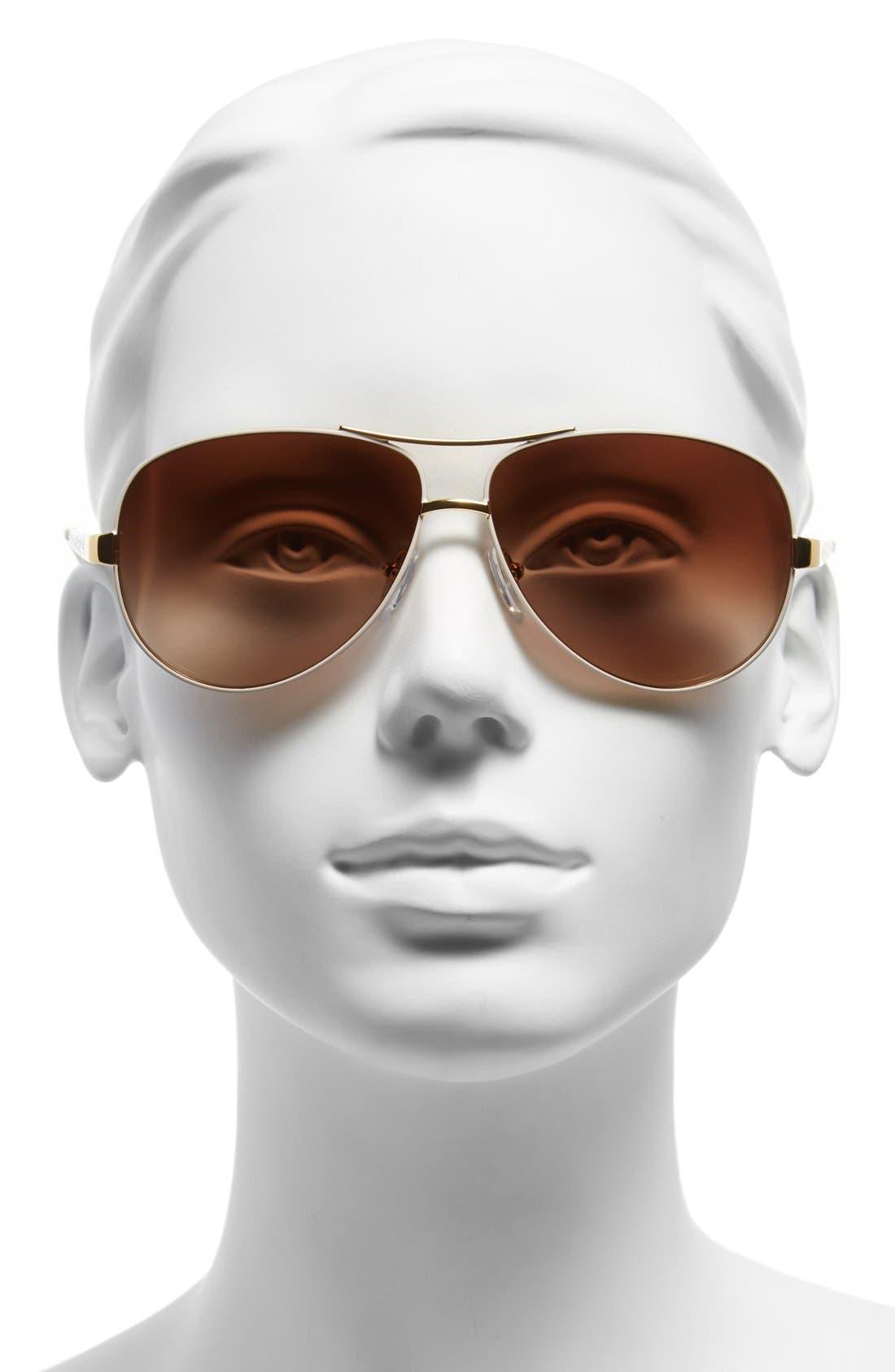 TORY BURCH, 60mm Aviator Sunglasses, Alternate thumbnail 2, color, IVORY GOLD