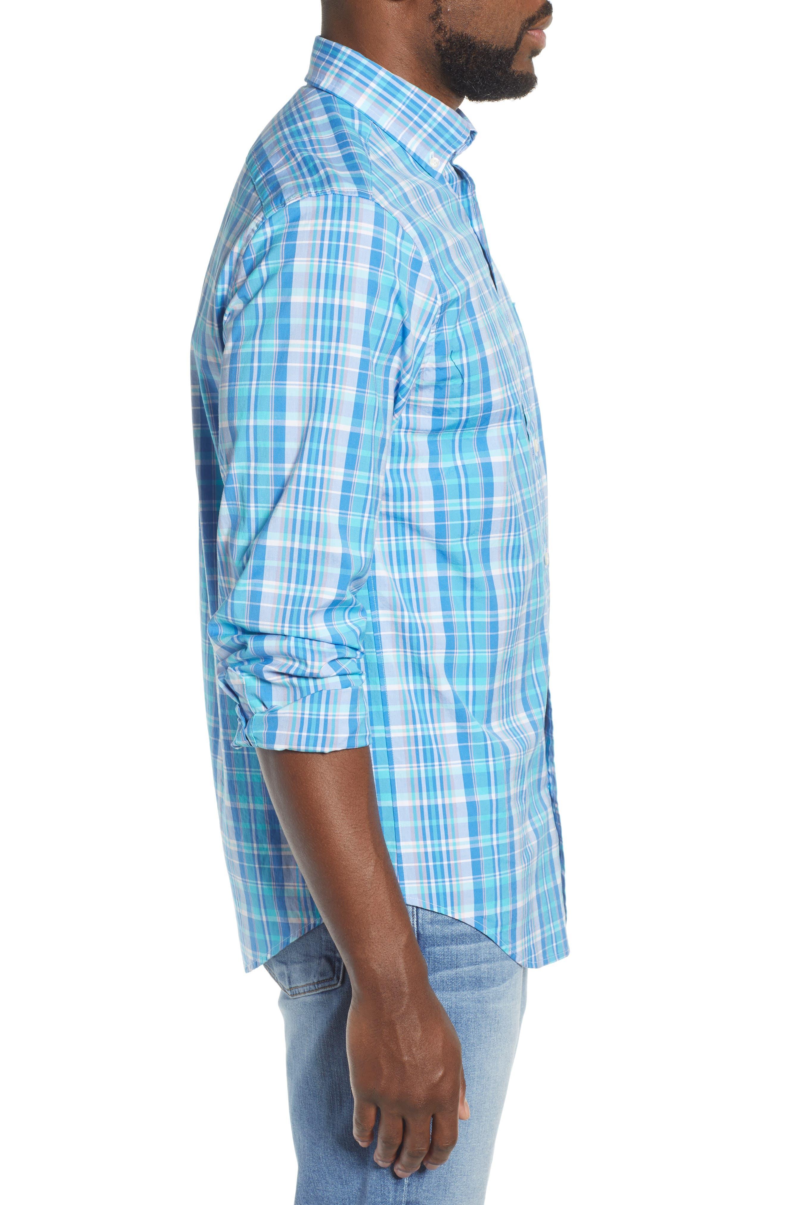 VINEYARD VINES, Tucker Regular Fit Plaid Sport Shirt, Alternate thumbnail 4, color, JAKE BLUE