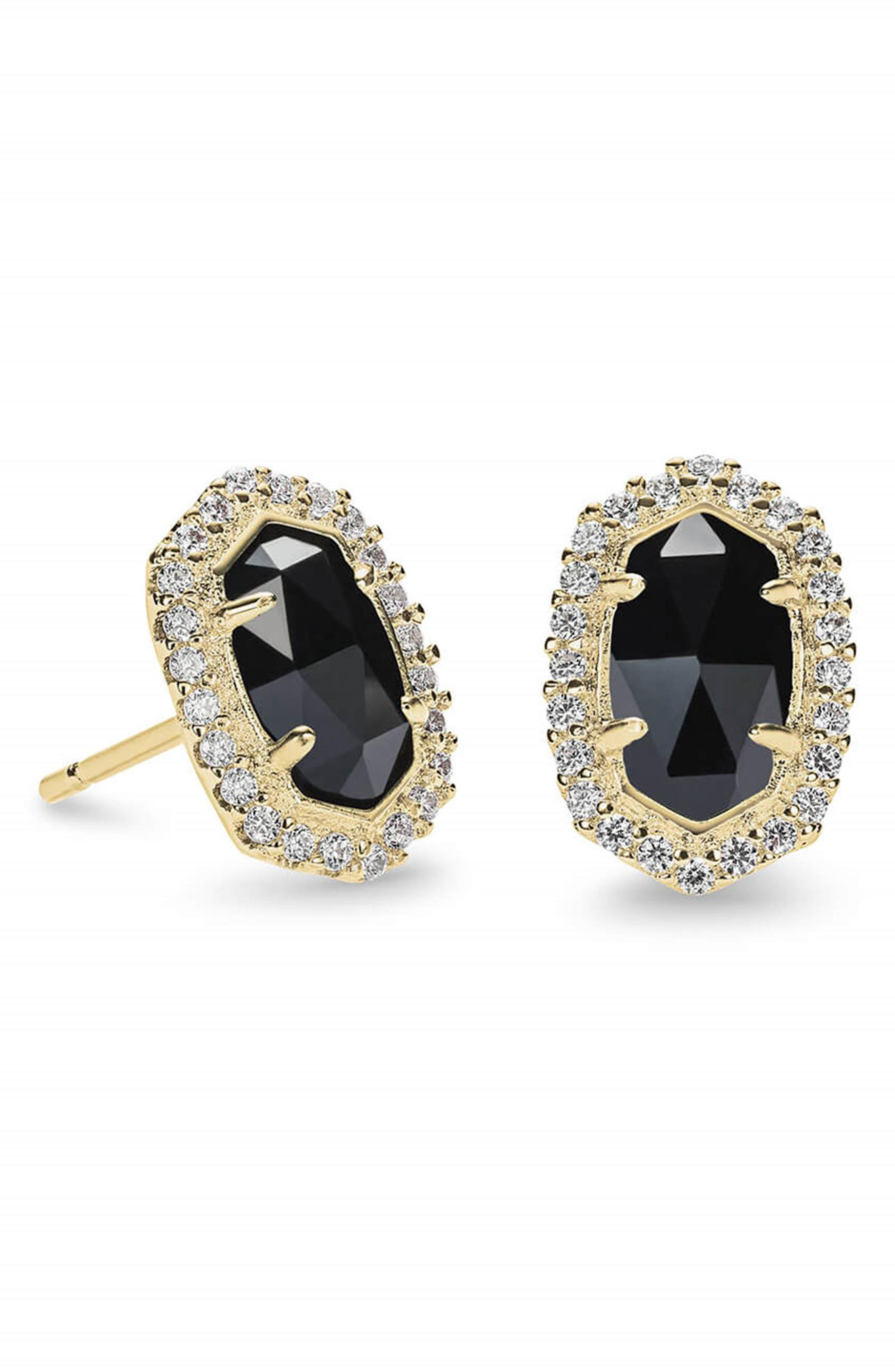 KENDRA SCOTT, 'Cade' Drusy Stud Earrings, Alternate thumbnail 3, color, 001
