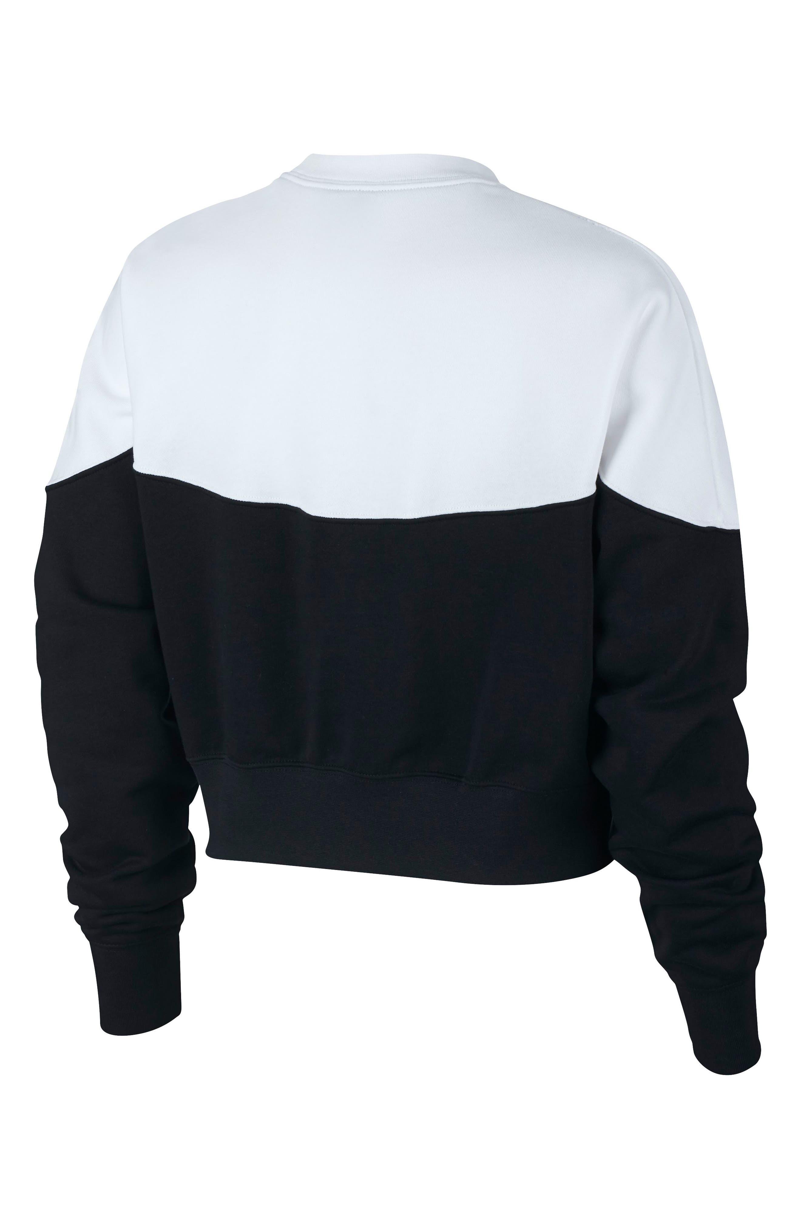 NIKE, Sportswear Heritage Fleece Sweatshirt, Alternate thumbnail 2, color, BLACK/ WHITE/ BLACK