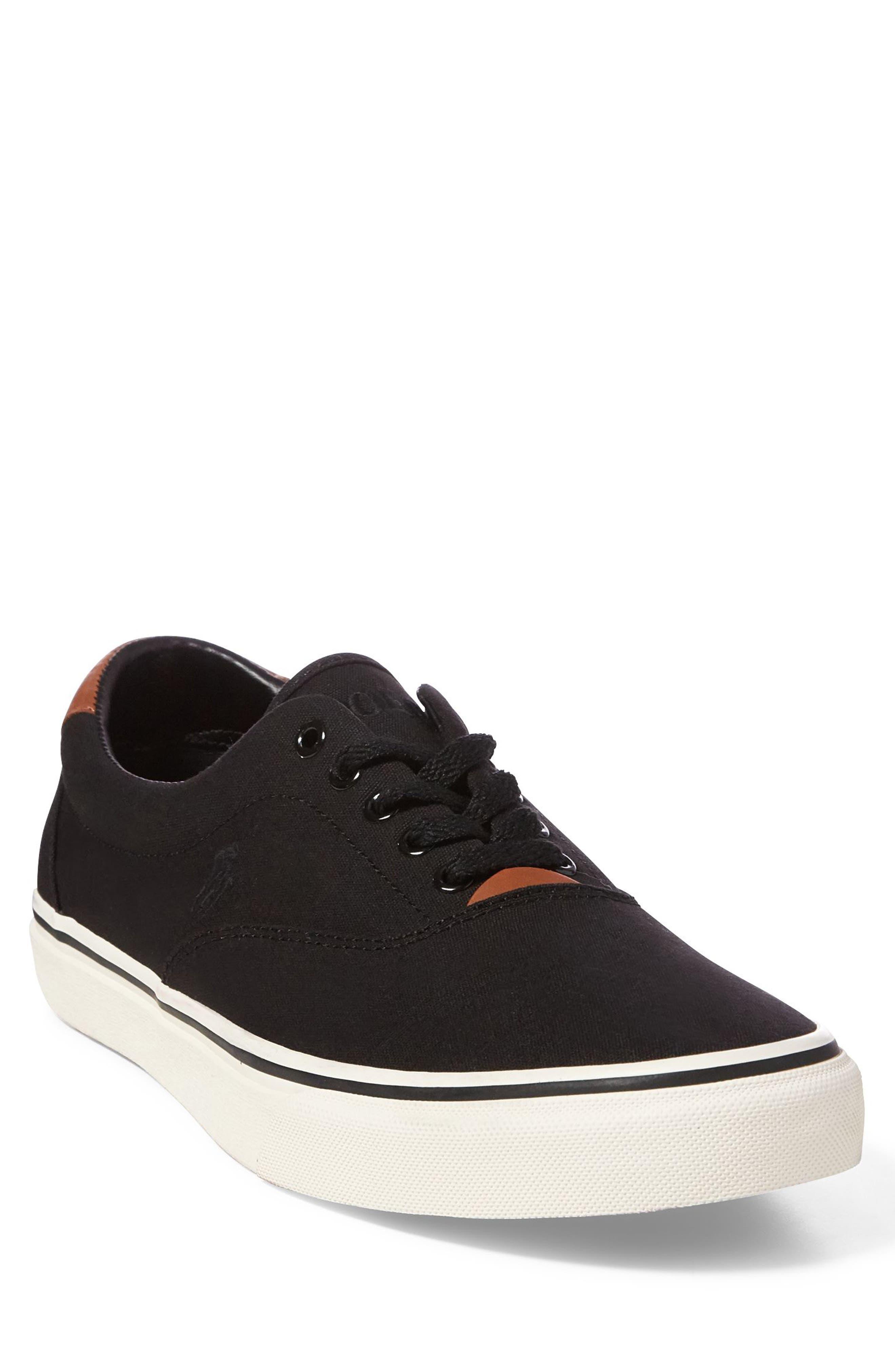 POLO RALPH LAUREN, Thorton Low Top Sneaker, Main thumbnail 1, color, BLACK CANVAS