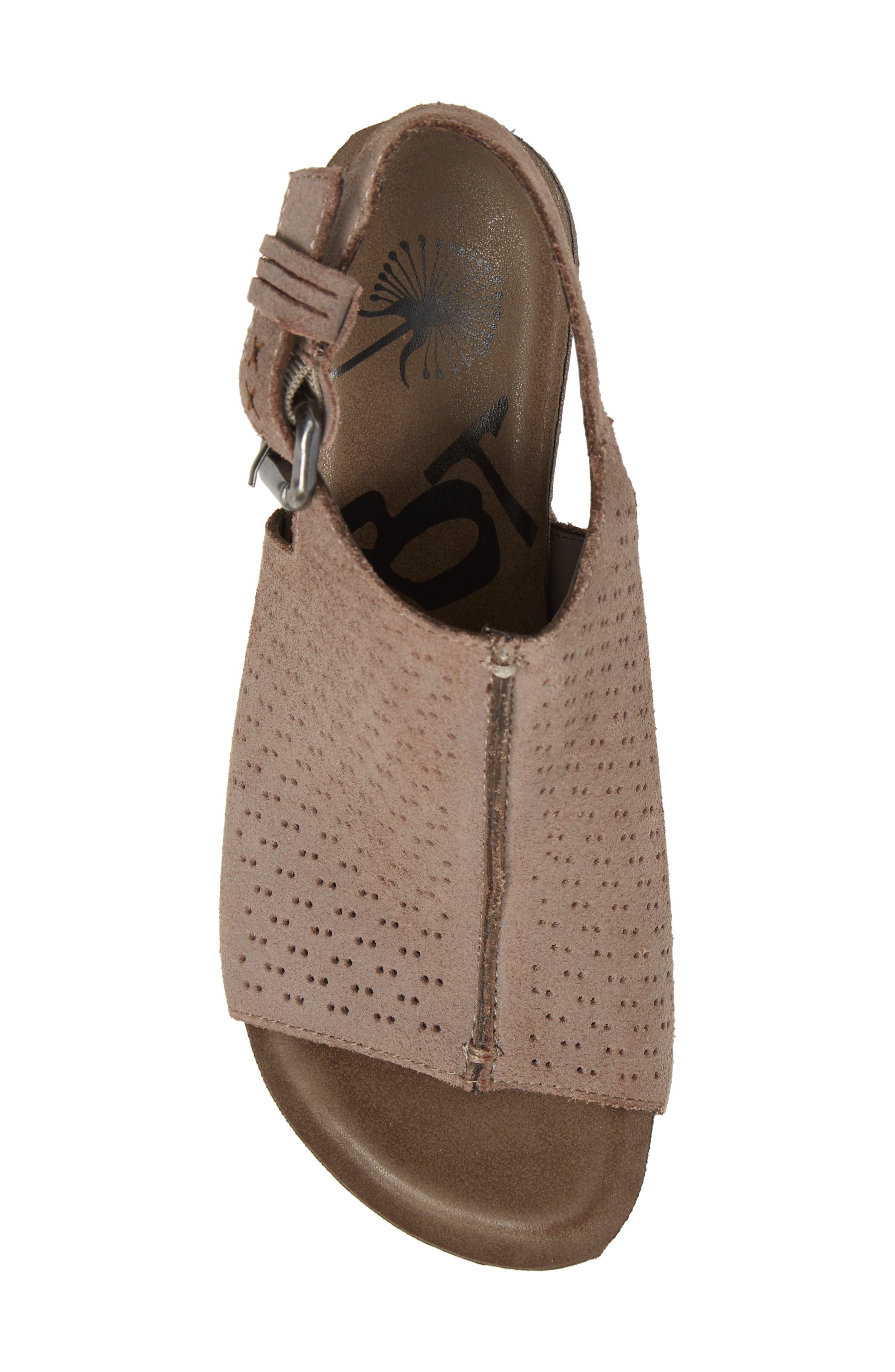 OTBT, Jaunt Platform Wedge Sandal, Alternate thumbnail 5, color, GREY POWDER SUEDE