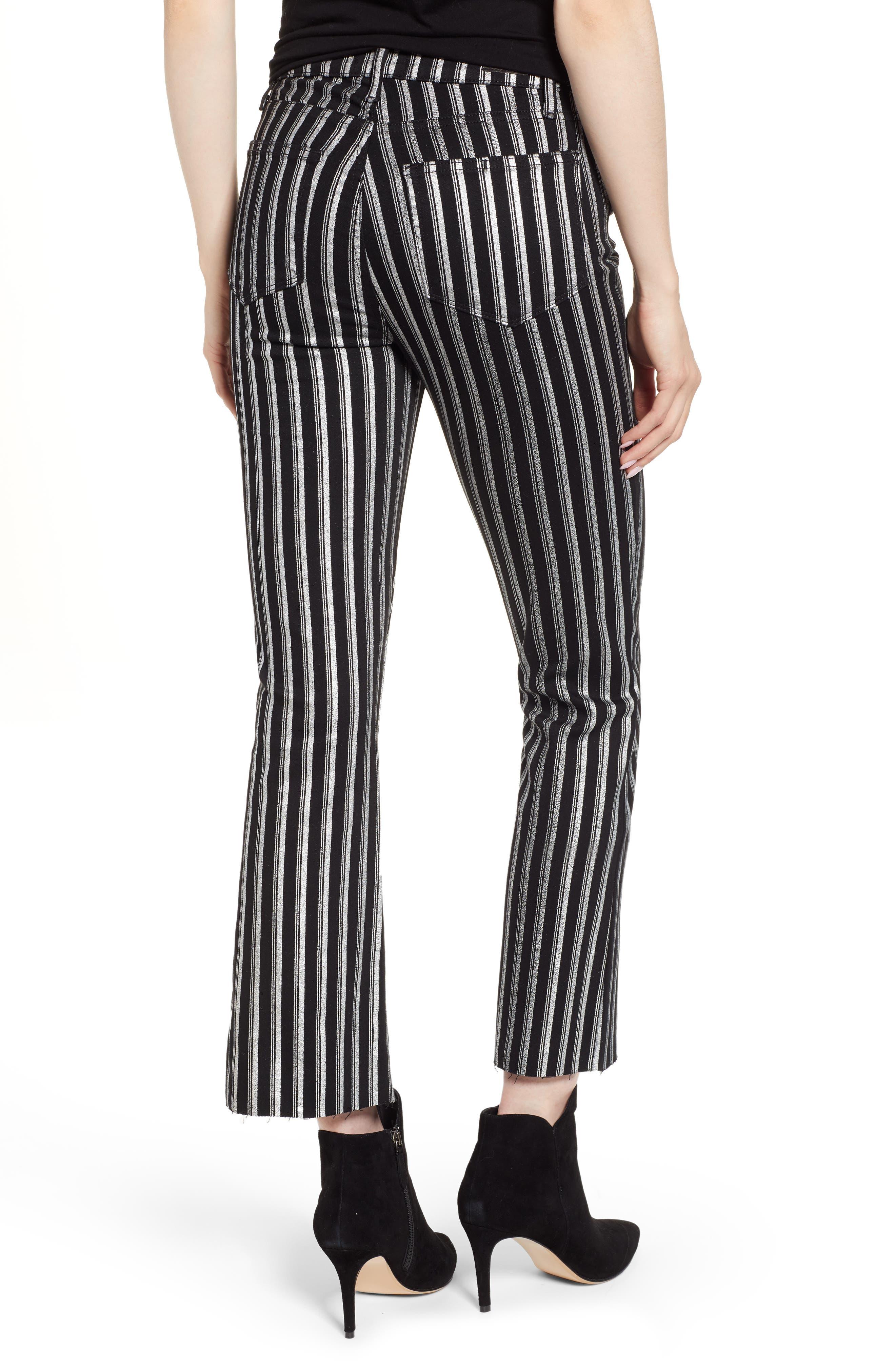 PAIGE, Colette High Waist Crop Flare Jeans, Alternate thumbnail 2, color, SILVER STRIPE