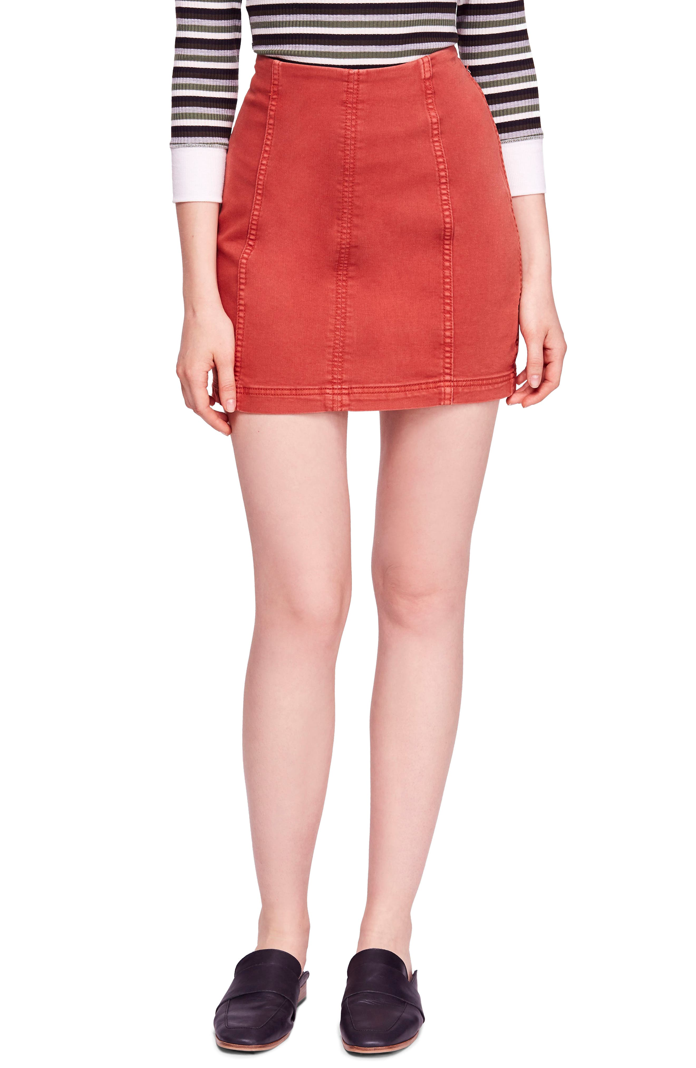 FREE PEOPLE, We the Free by Free People Modern Denim Skirt, Main thumbnail 1, color, TERRACOTTA