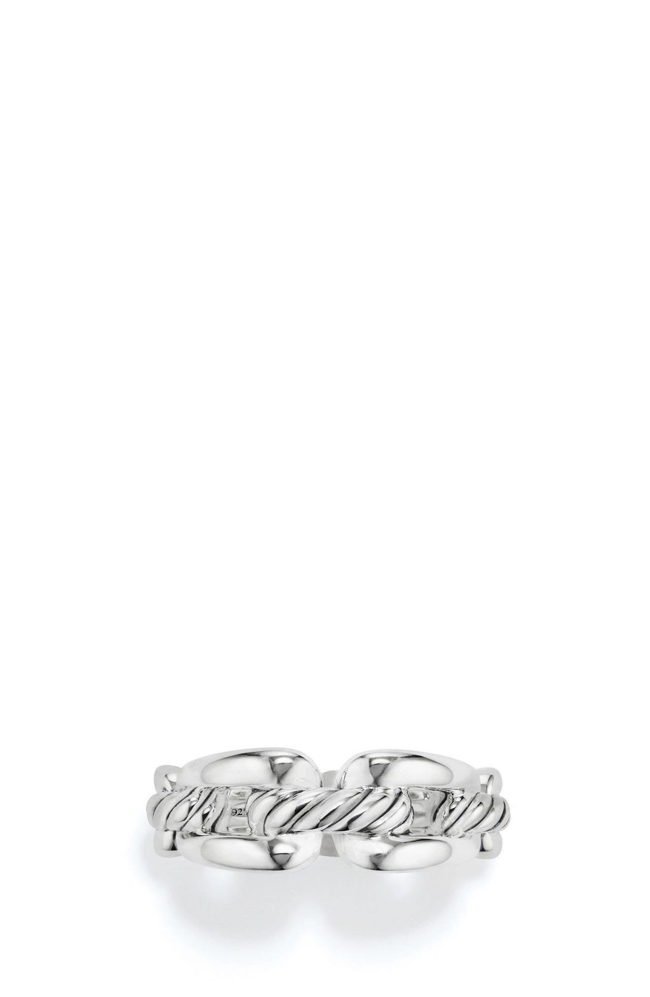 DAVID YURMAN, Wellesley Chain Link Ring with Diamonds, Alternate thumbnail 3, color, SILVER