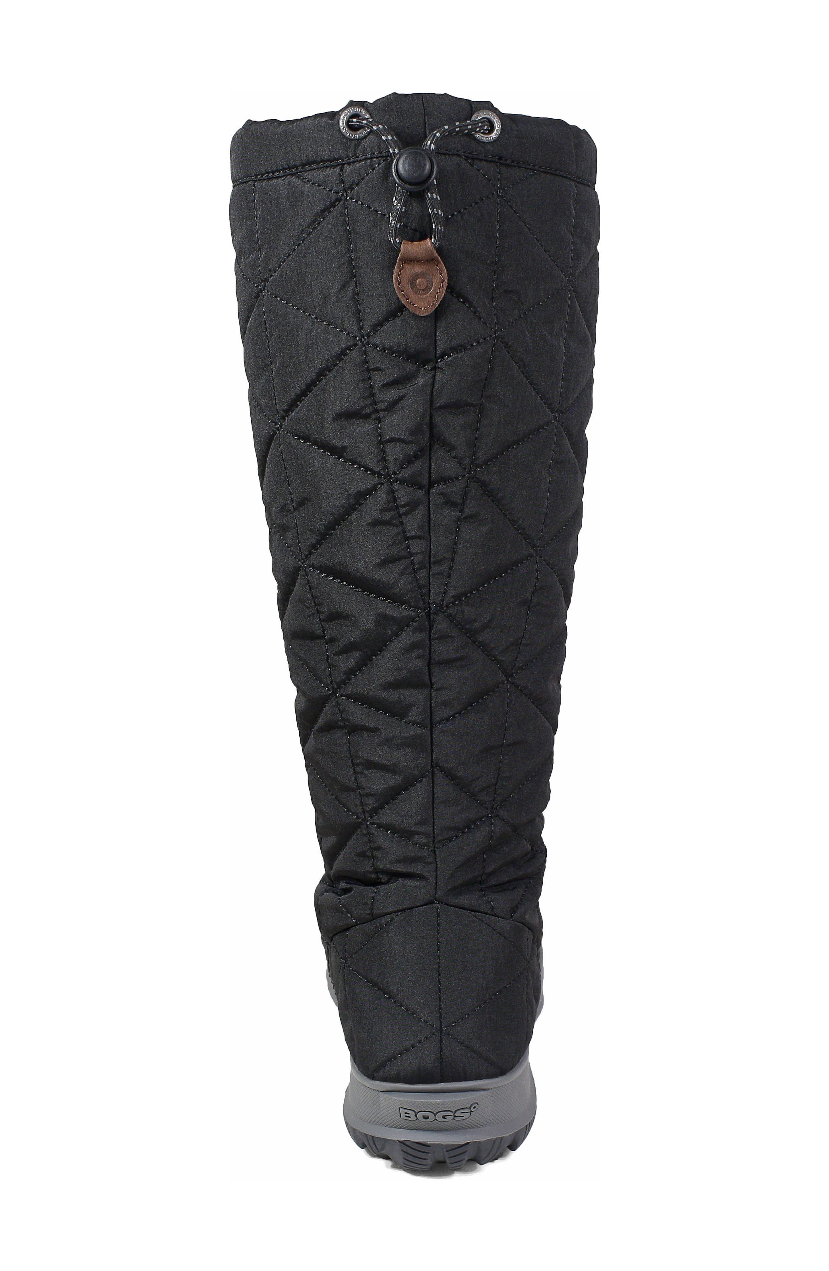 BOGS, Snowday Tall Waterproof Quilted Snow Boot, Alternate thumbnail 8, color, BLACK