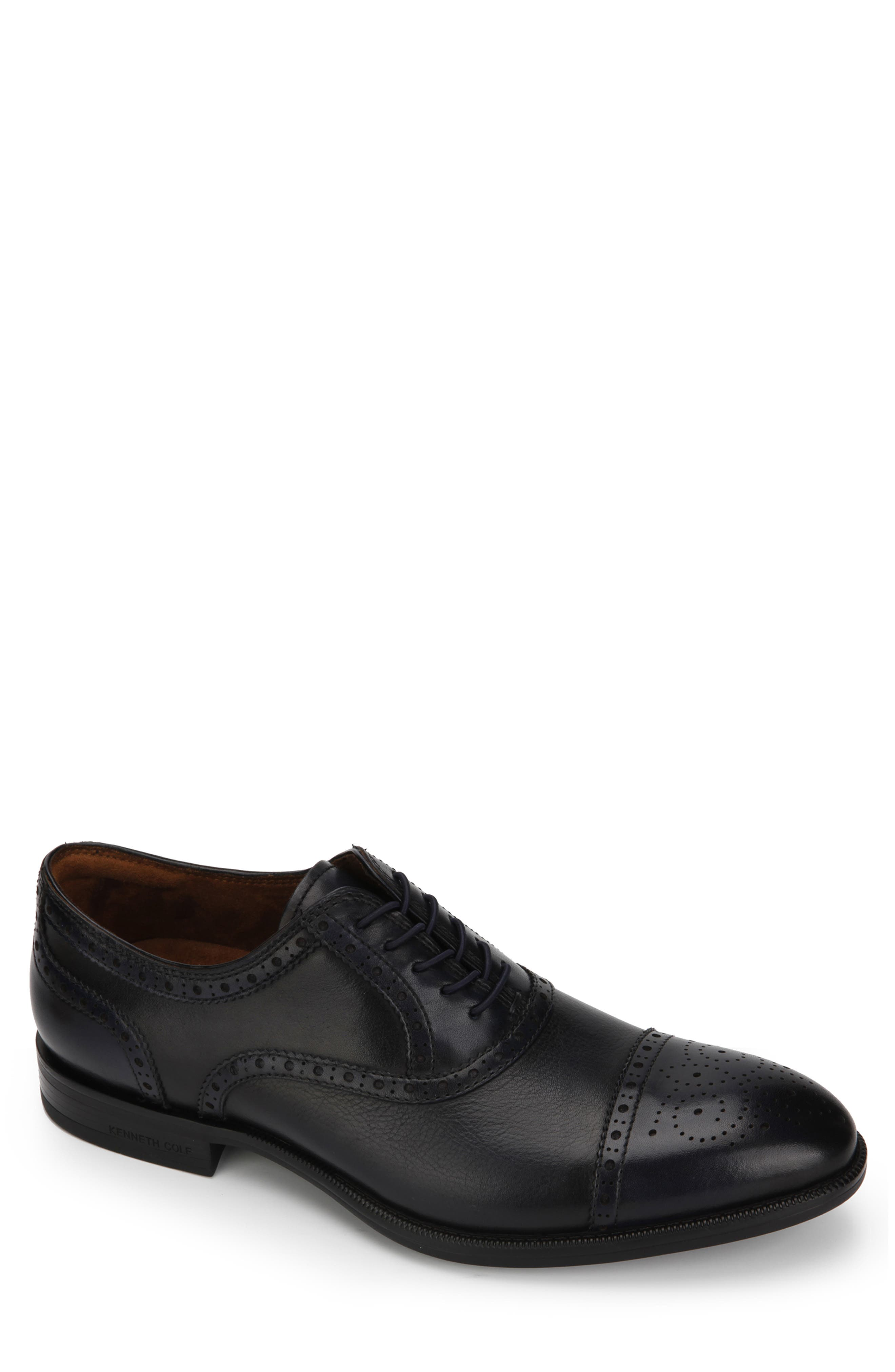 KENNETH COLE NEW YORK, Futurepod Cap Toe Oxford, Main thumbnail 1, color, NAVY TUMBLED LEATHER