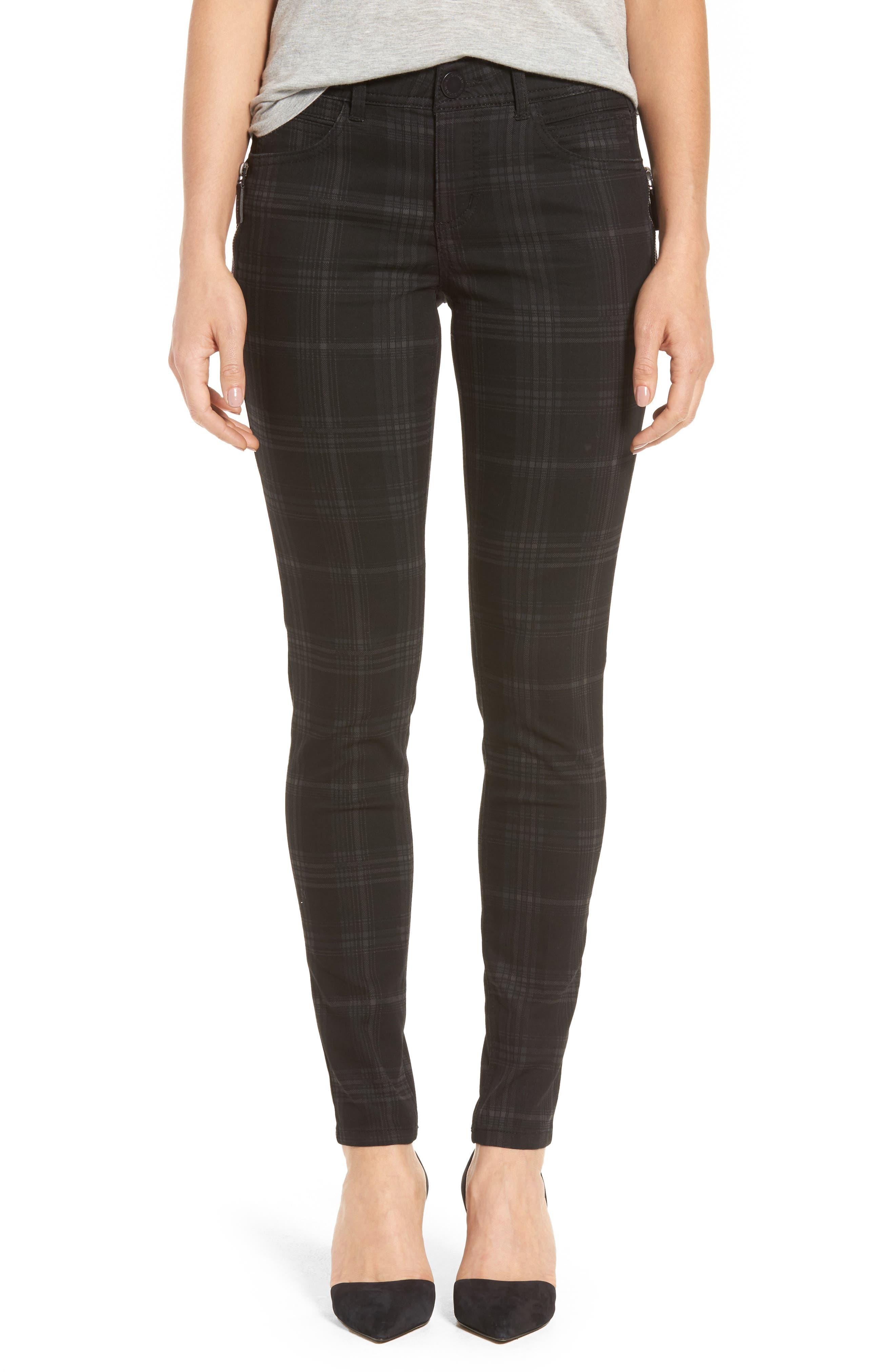 WIT & WISDOM Ab-solution Side Zip Plaid Skinny Pants, Main, color, BLACK