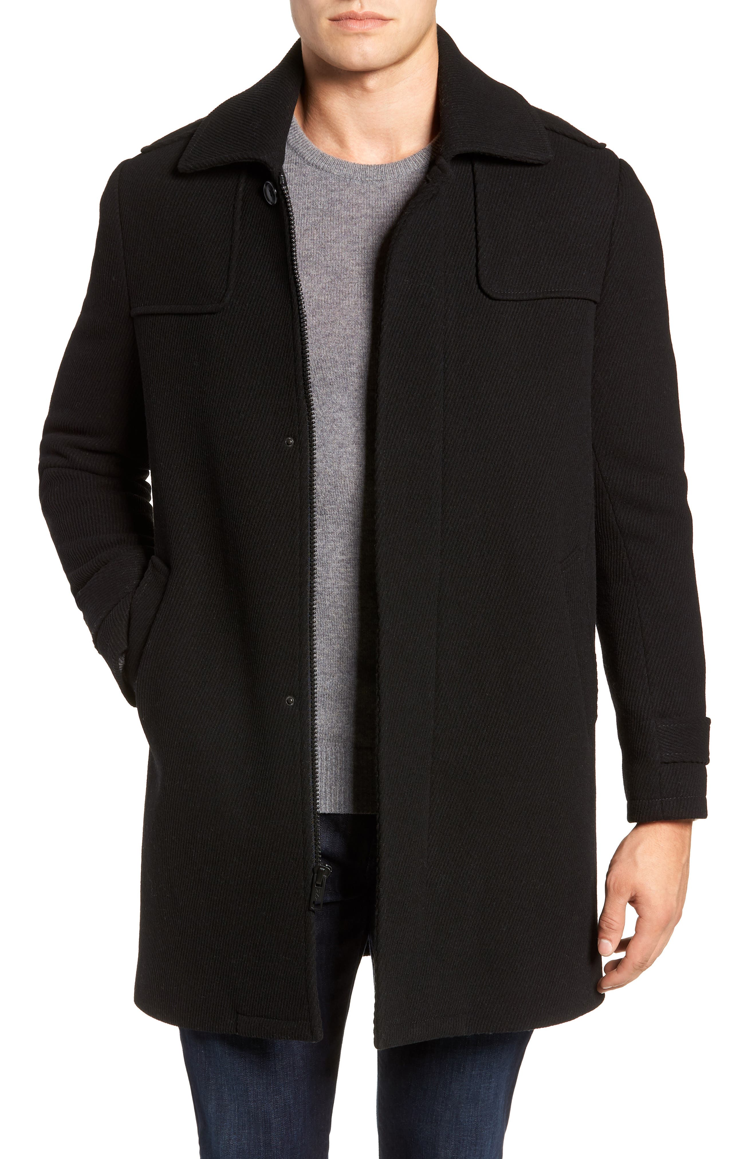 MARC NEW YORK Edmund Wool Blend Twill Car Coat, Main, color, BLACK