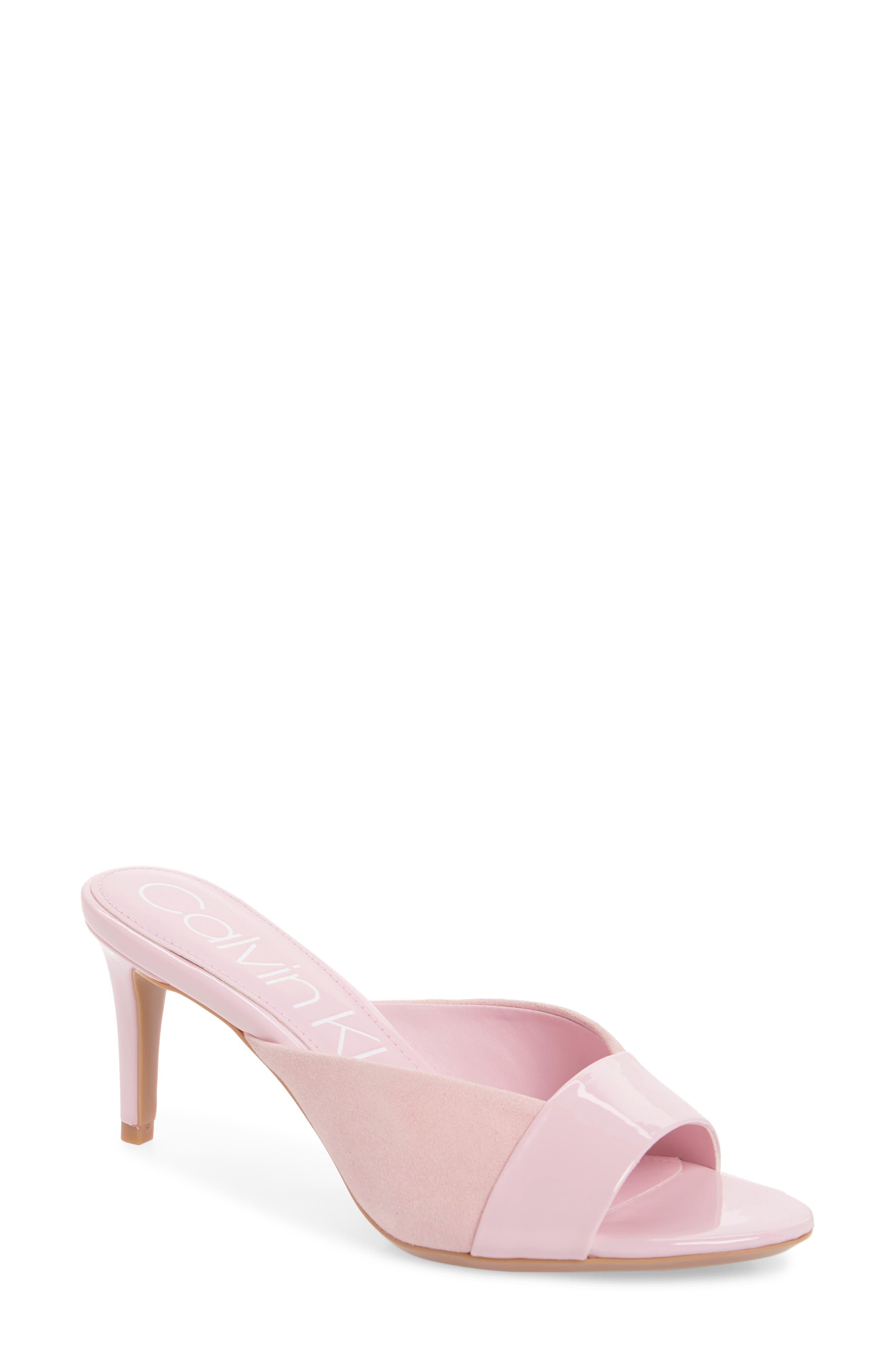CALVIN KLEIN Laron Slide Sandal, Main, color, PASTEL PINK PATENT LEATHER