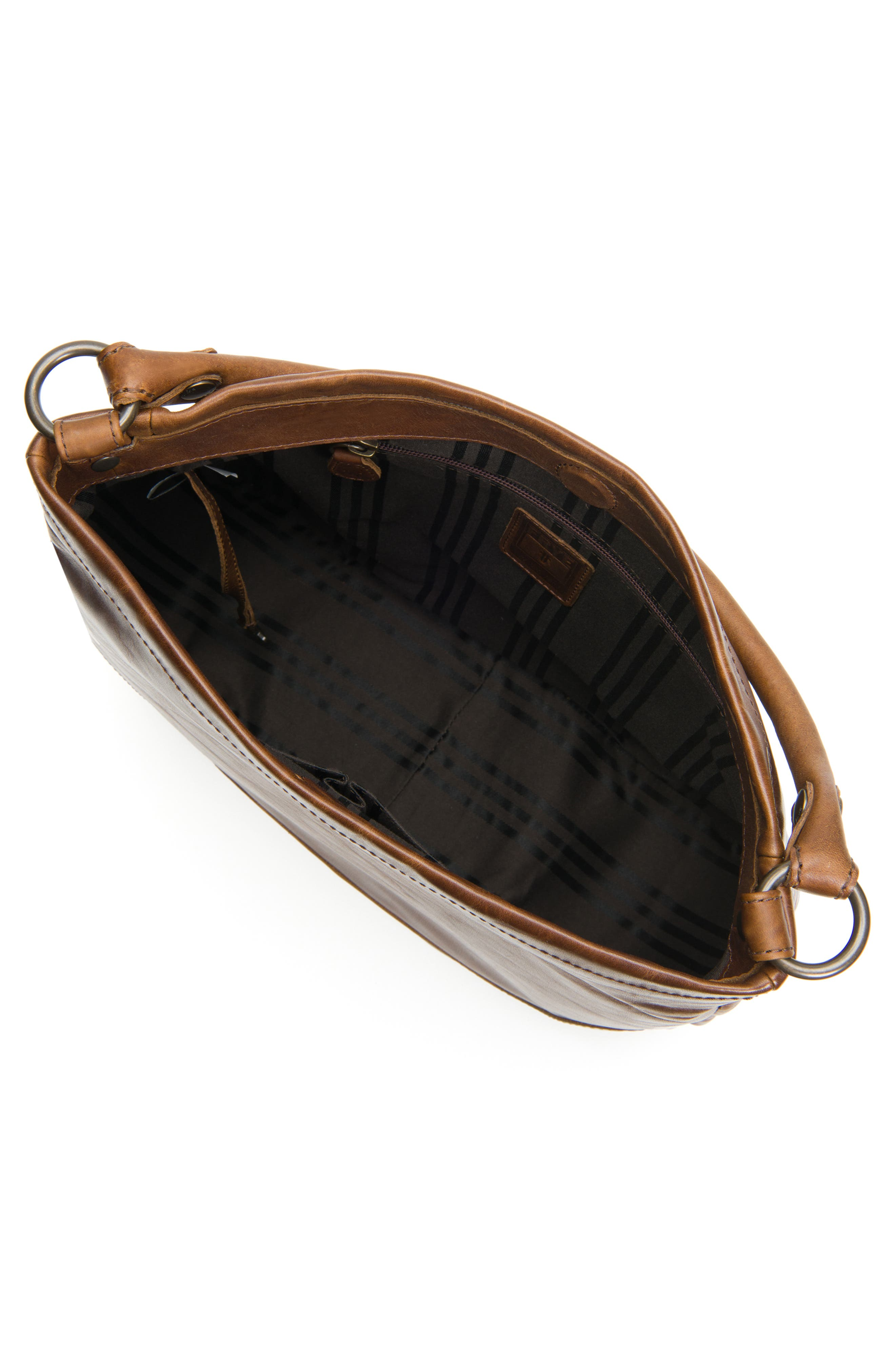FRYE, Melissa Leather Hobo, Alternate thumbnail 5, color, DARK BROWN