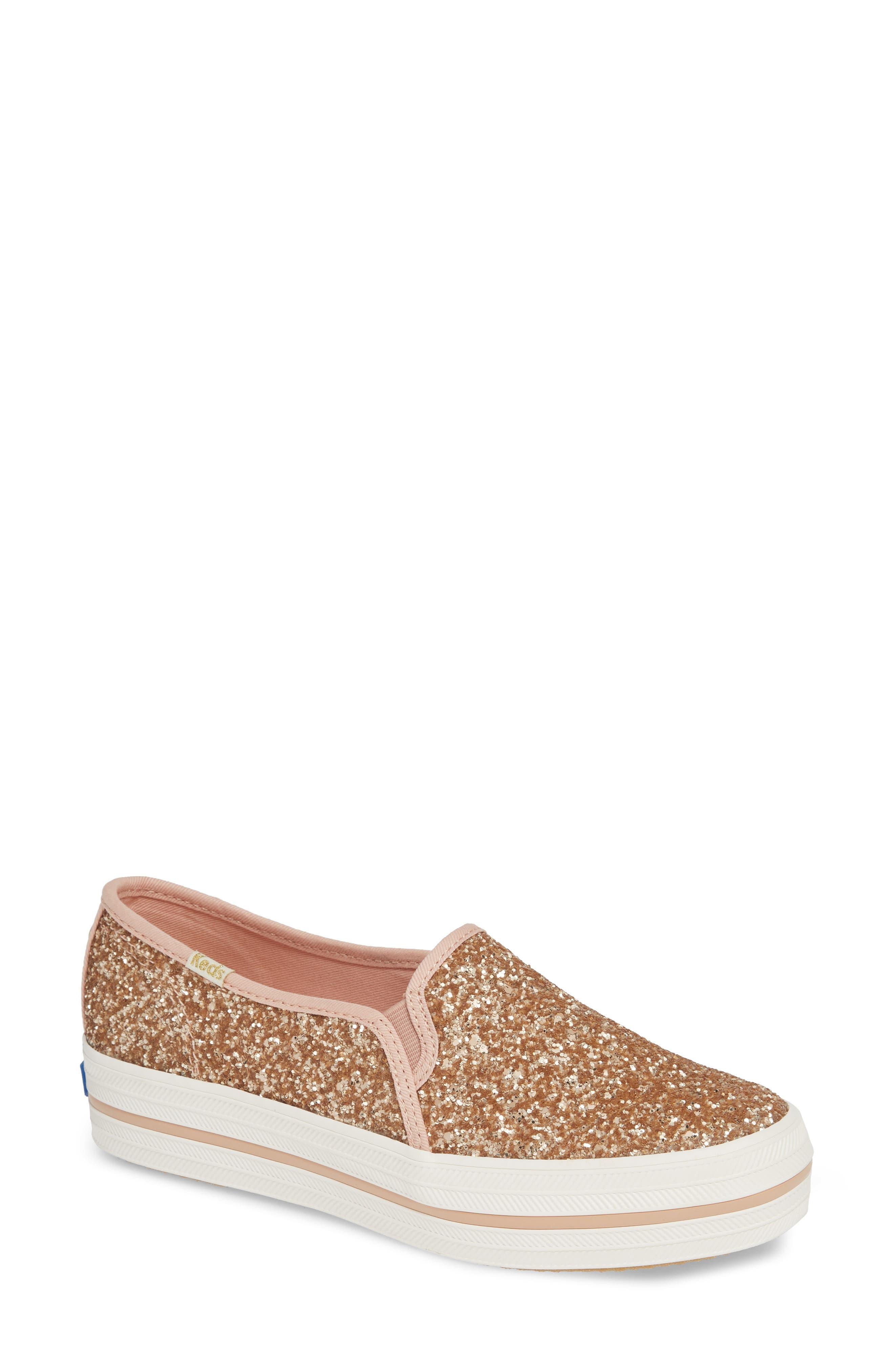 KEDS<SUP>®</SUP> FOR KATE SPADE NEW YORK, triple decker glitter slip-on sneaker, Main thumbnail 1, color, ROSE GOLD
