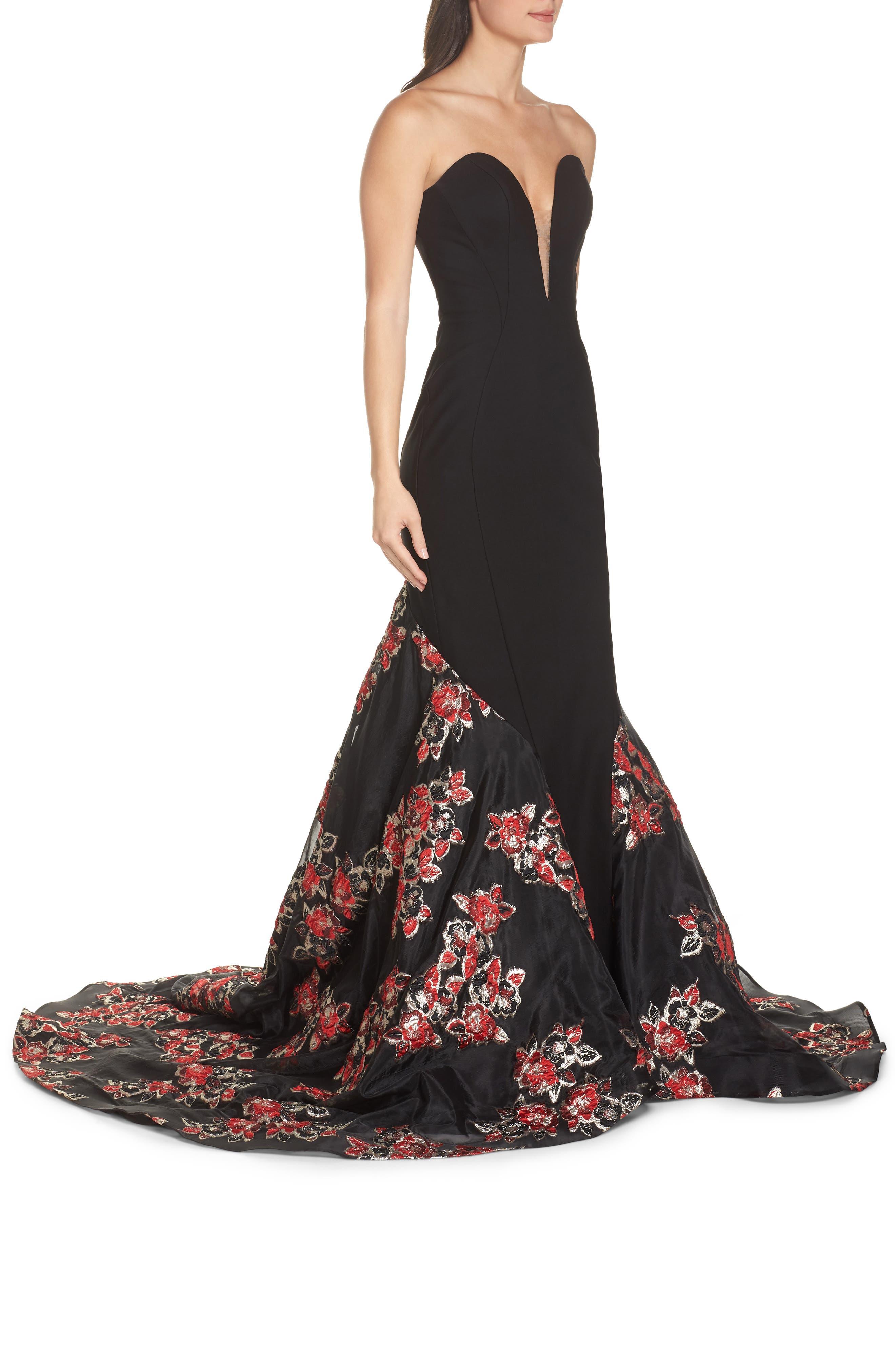 MAC DUGGAL, Plunge Floral Jacquard Mermaid Gown, Alternate thumbnail 3, color, BLACK