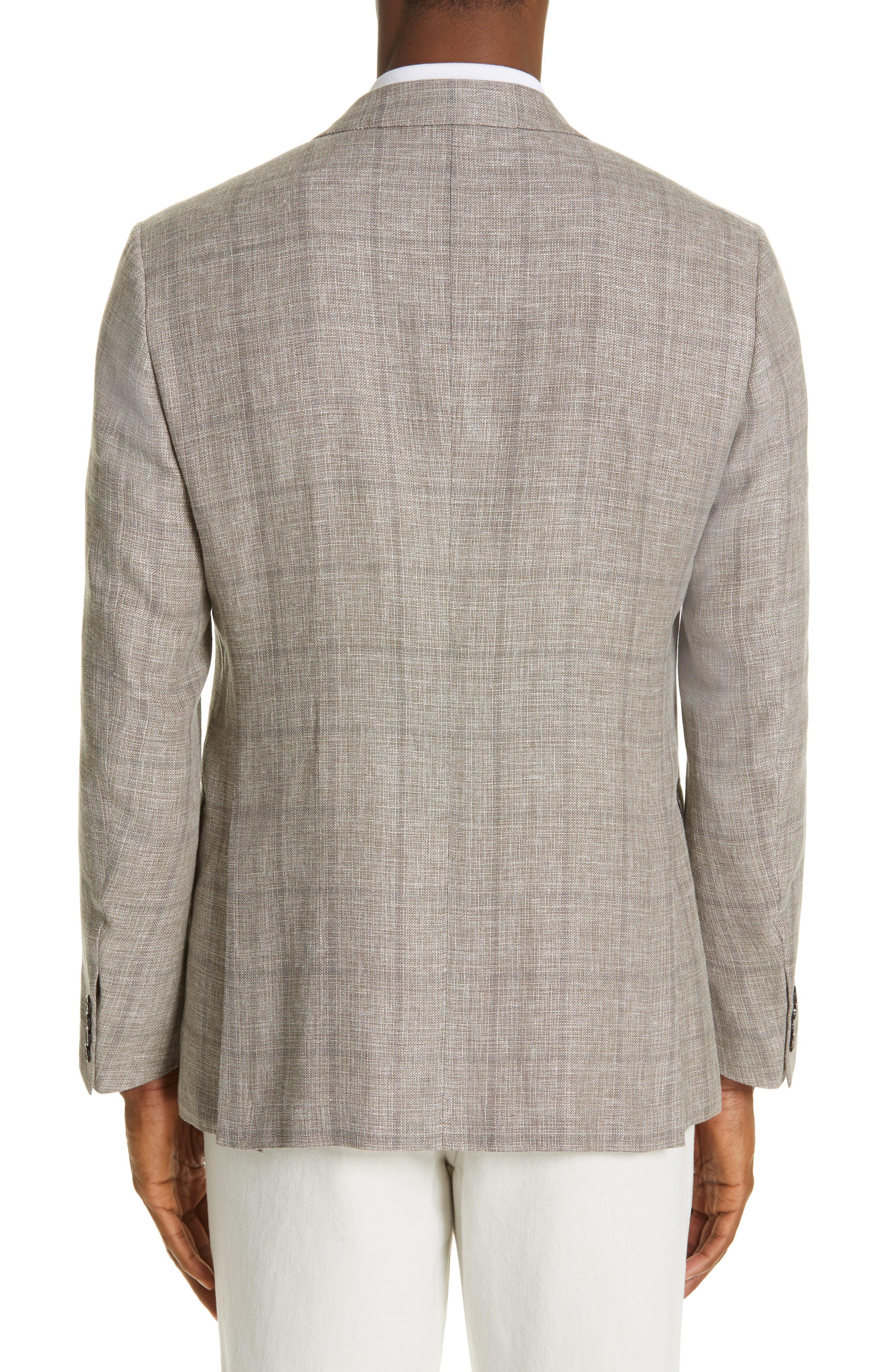 ERMENEGILDO ZEGNA, Milano Classic Fit Windowpane Linen Blend Sport Coat, Alternate thumbnail 2, color, TAN