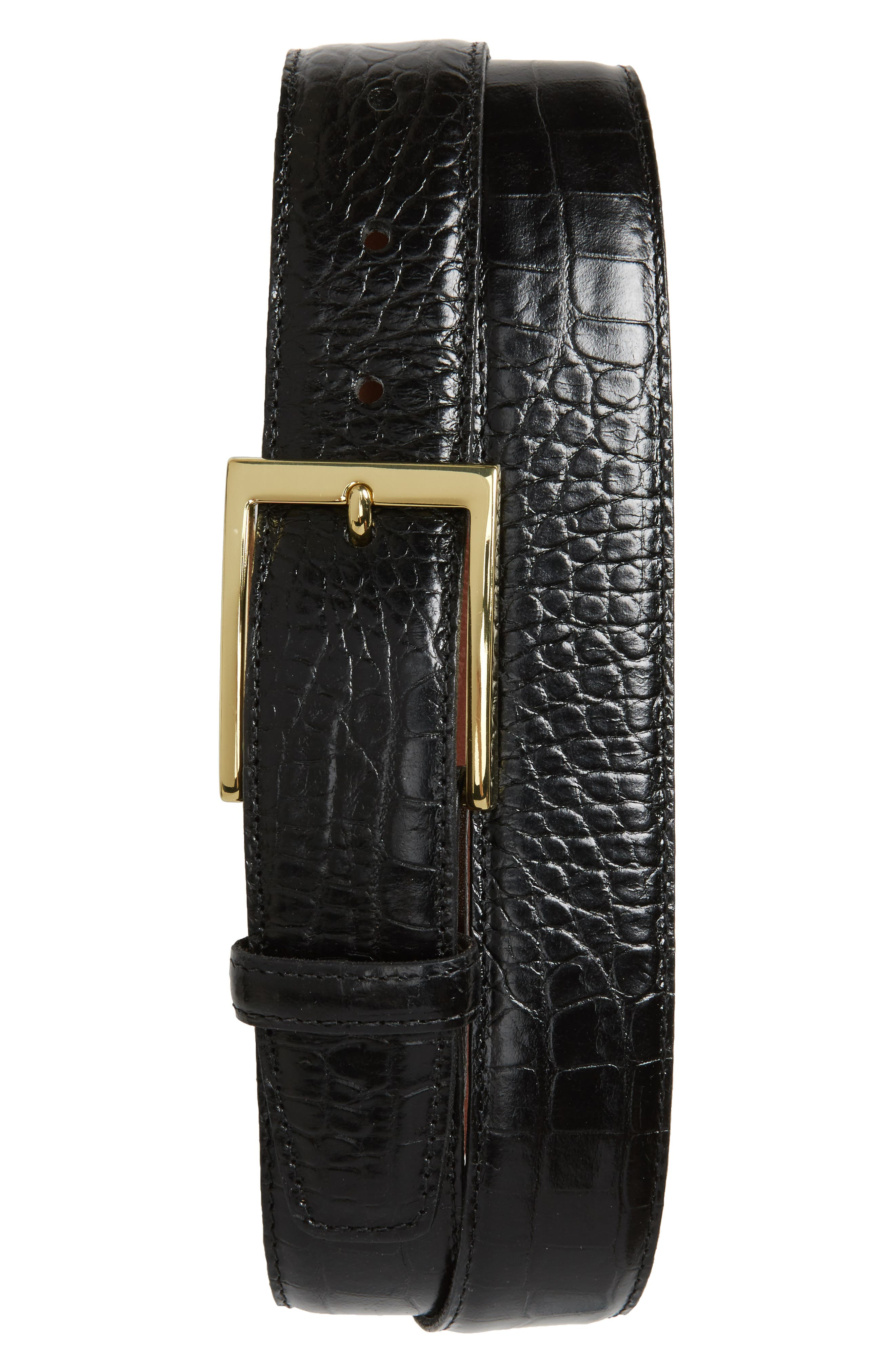 TORINO, Gator Grain Embossed Leather Belt, Alternate thumbnail 2, color, BLACK