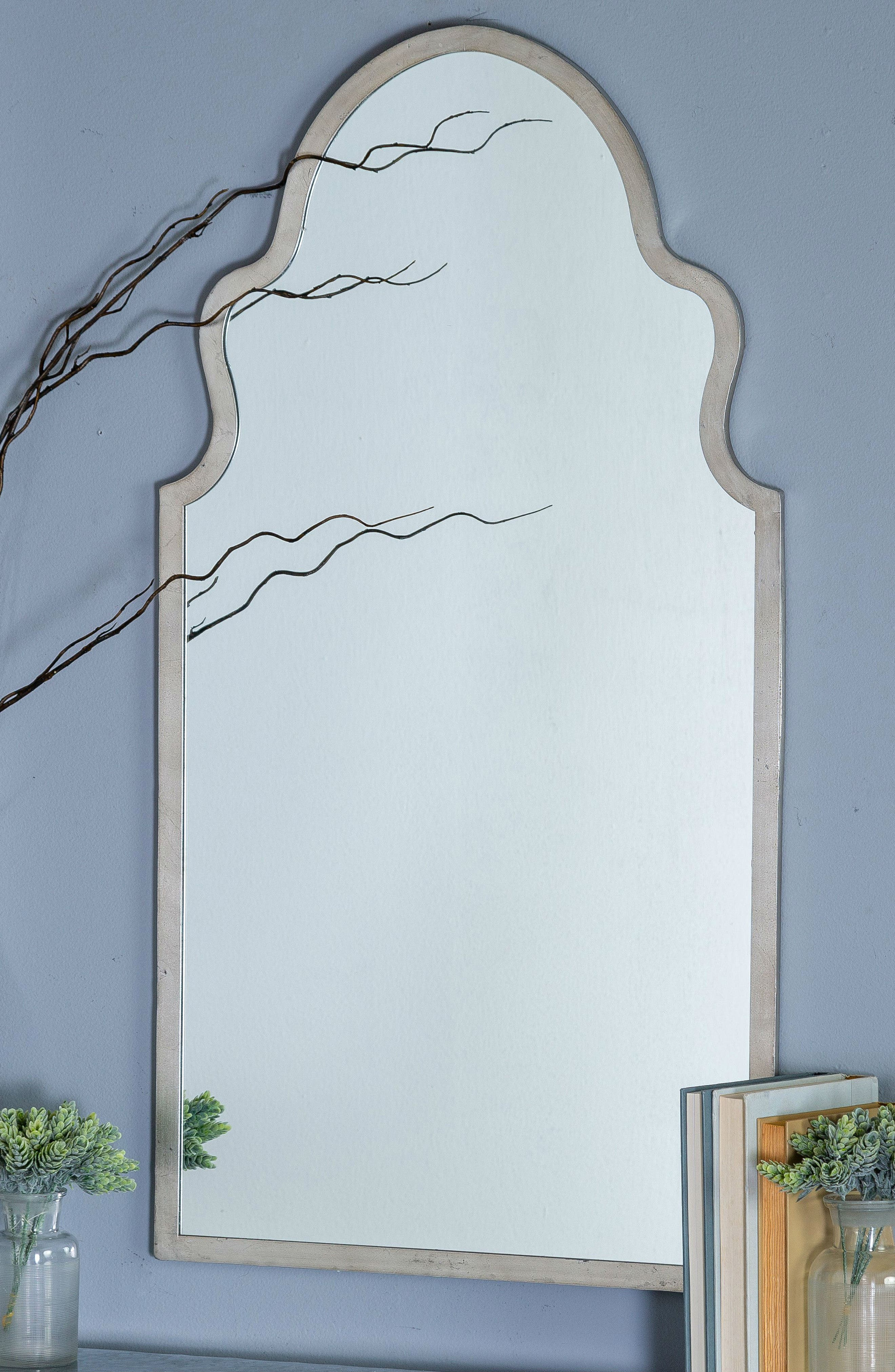 GEORGE AND CO, Scalloped Wall Mirror, Alternate thumbnail 2, color, METALLIC SILVER