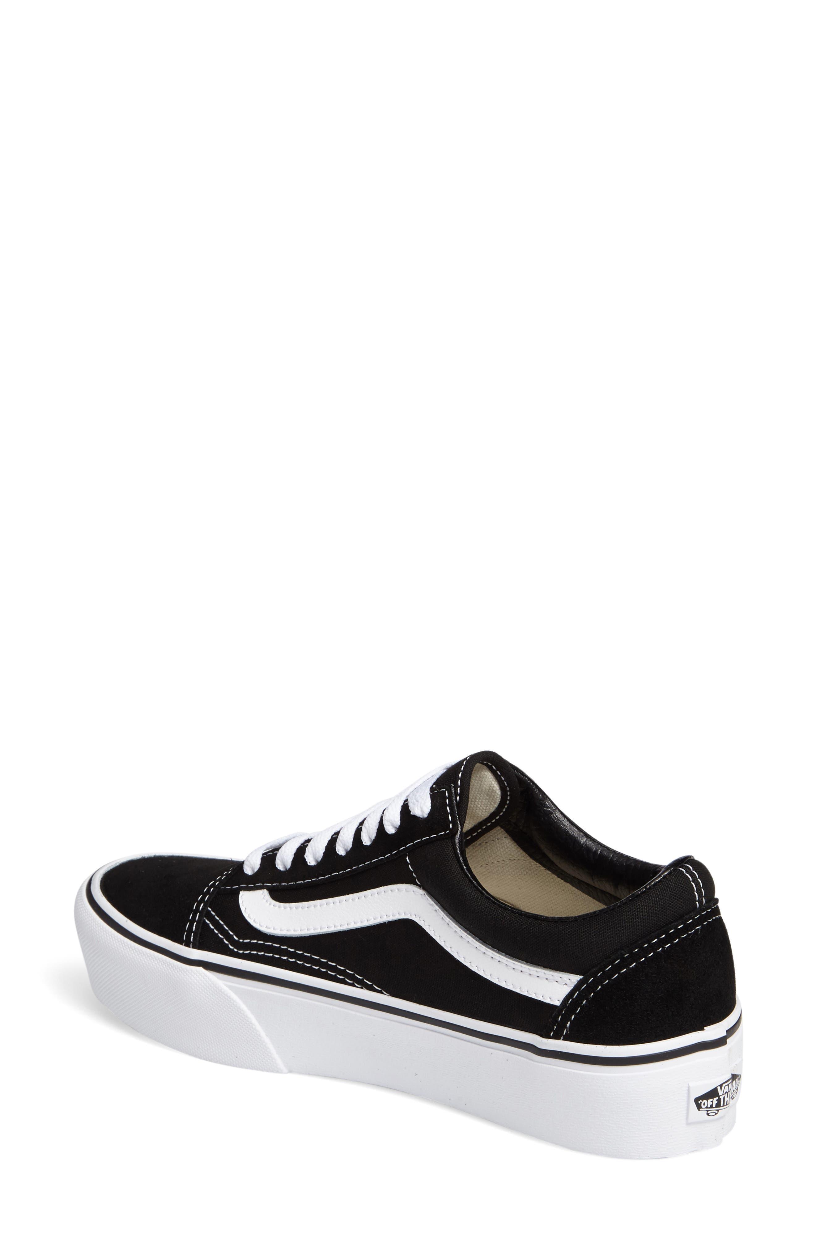 VANS, Old Skool Platform Sneaker, Alternate thumbnail 2, color, BLACK/ WHITE