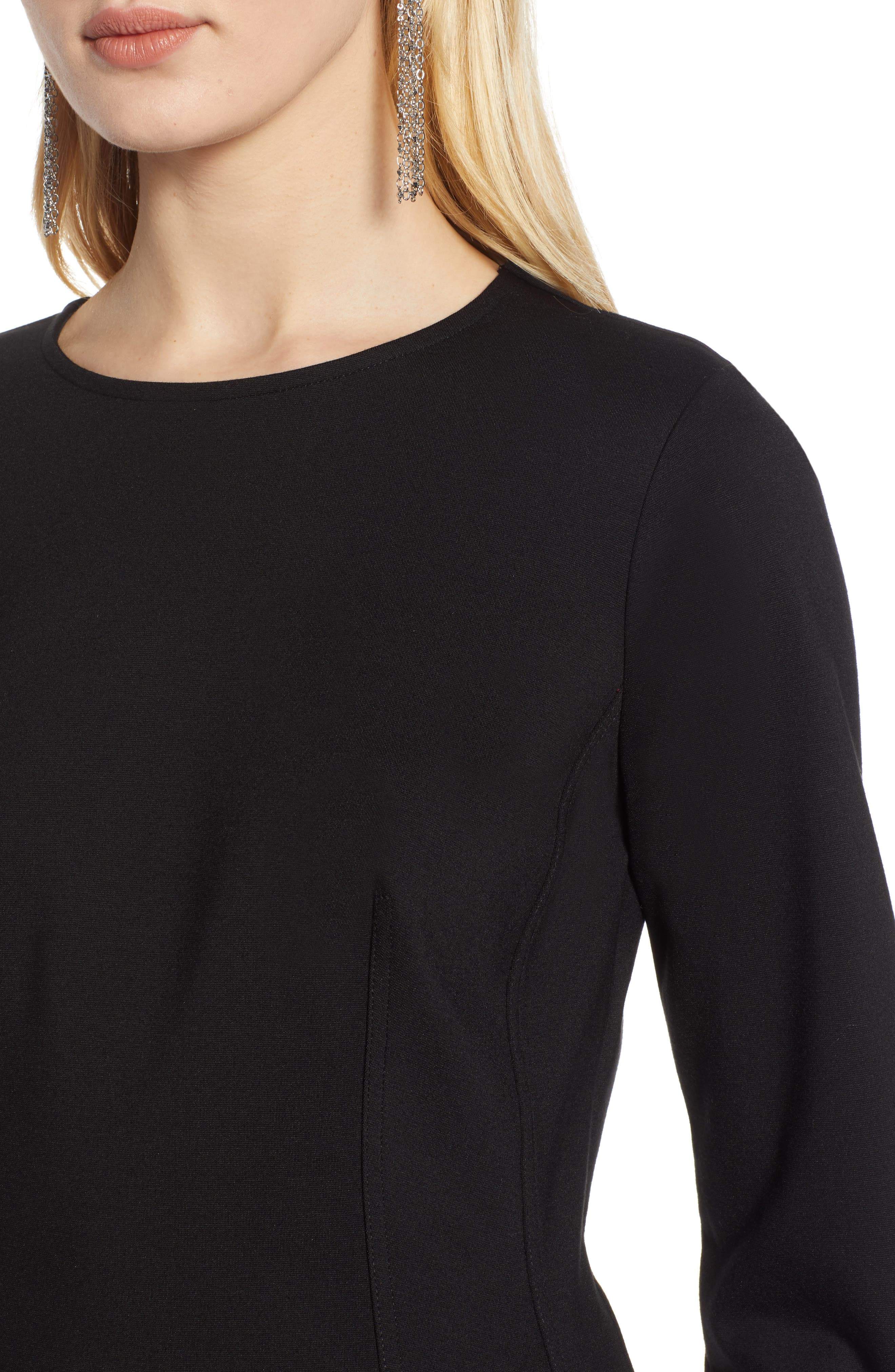HALOGEN<SUP>®</SUP>, Structured Stretch Knit Top, Alternate thumbnail 4, color, BLACK