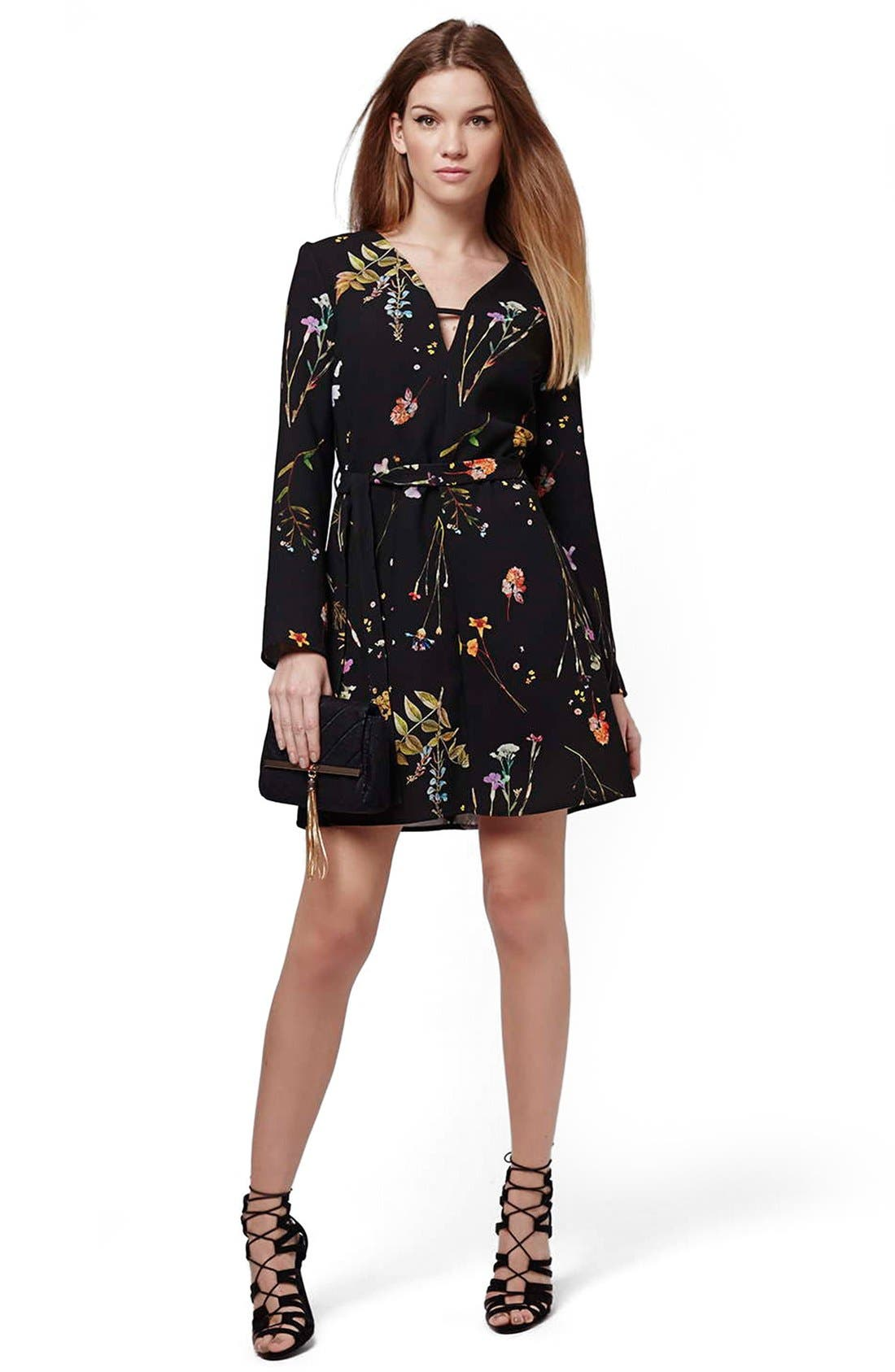 TOPSHOP, Belted Floral Tunic Dress, Alternate thumbnail 2, color, 001