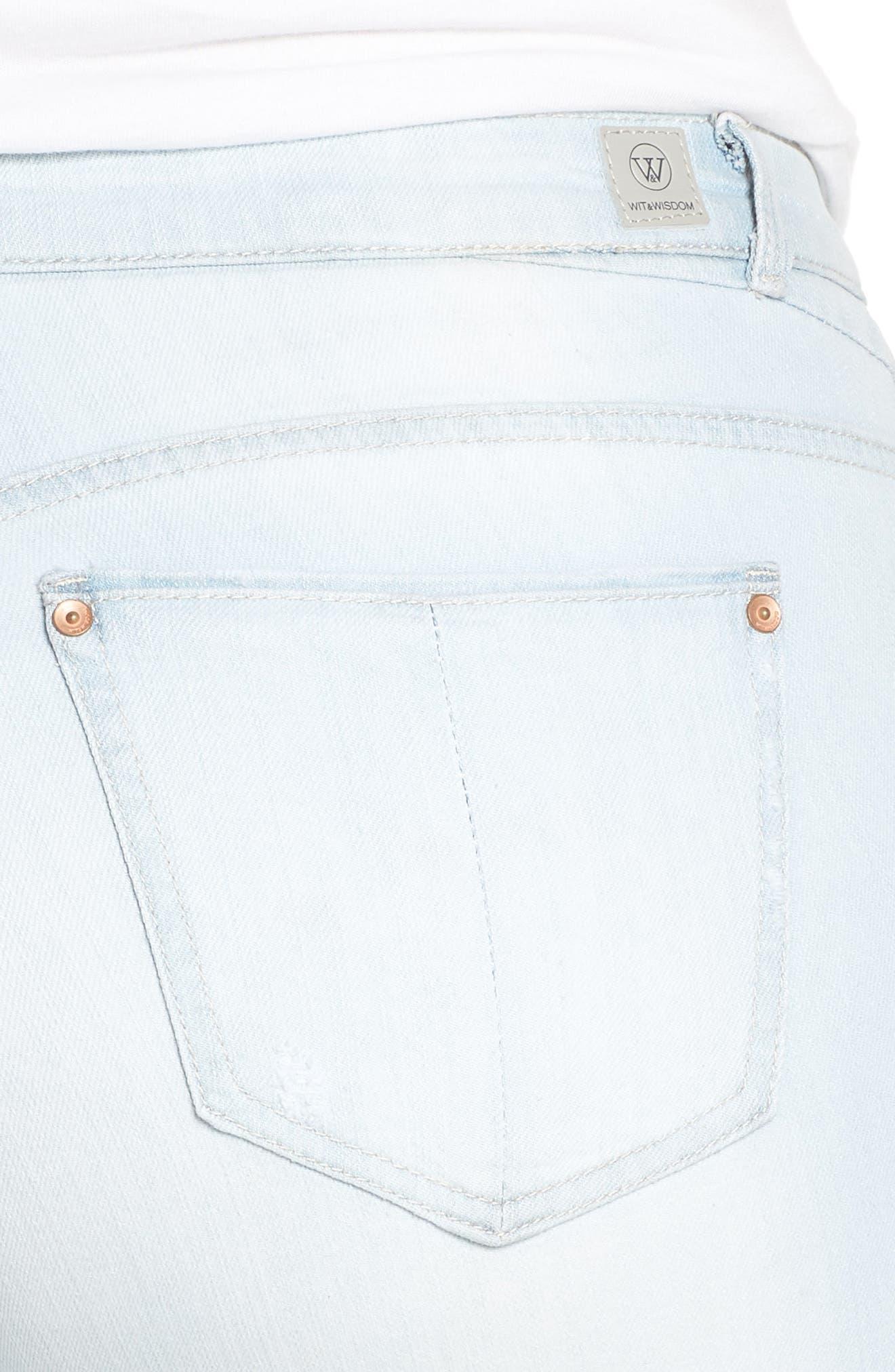 WIT & WISDOM, Flex-ellent Distressed Boyfriend Jeans, Alternate thumbnail 5, color, LIGHT BLUE