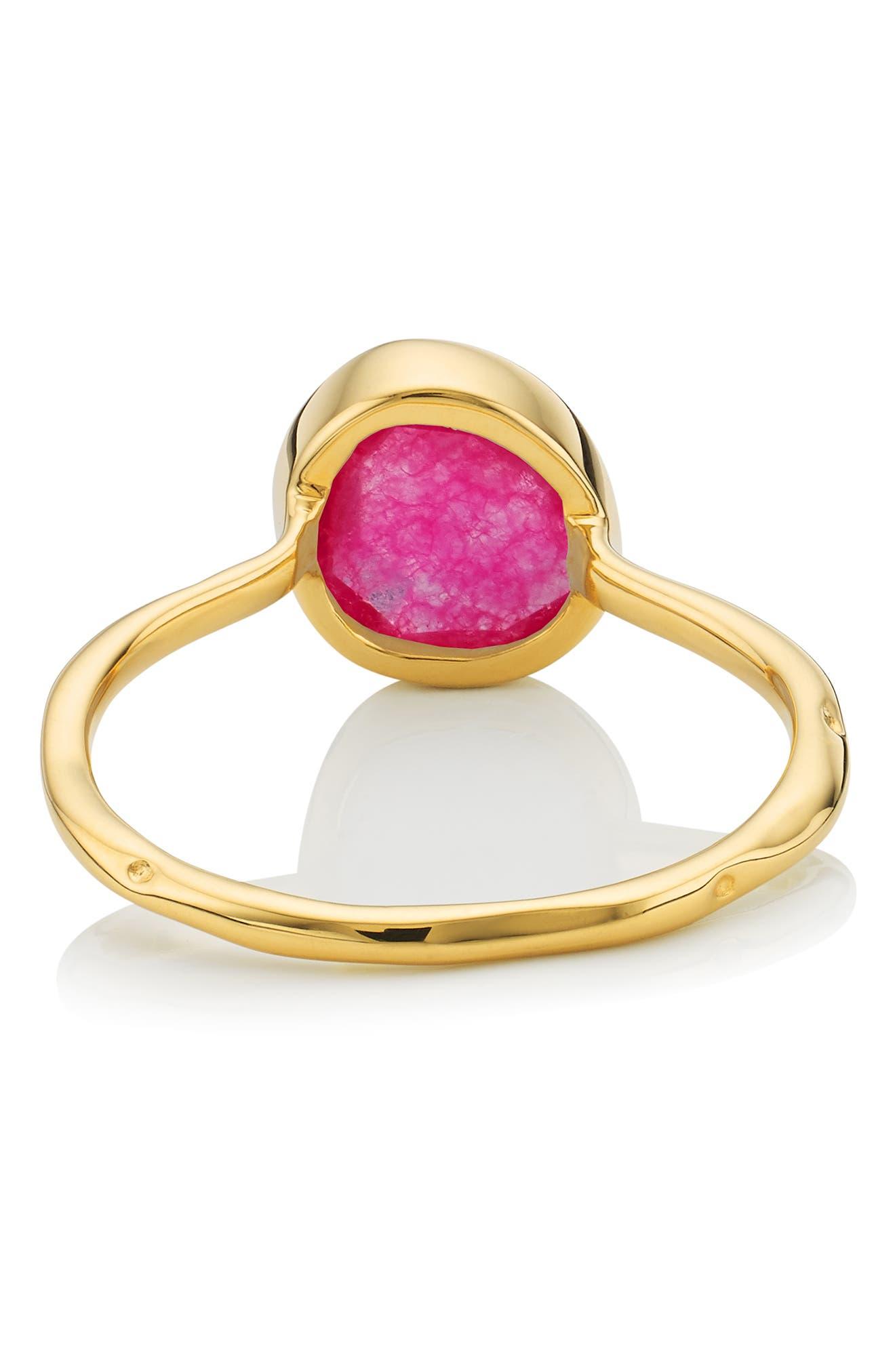 MONICA VINADER, Siren Semiprecious Stone Stacking Ring, Alternate thumbnail 3, color, GOLD/ PINK QUARTZ