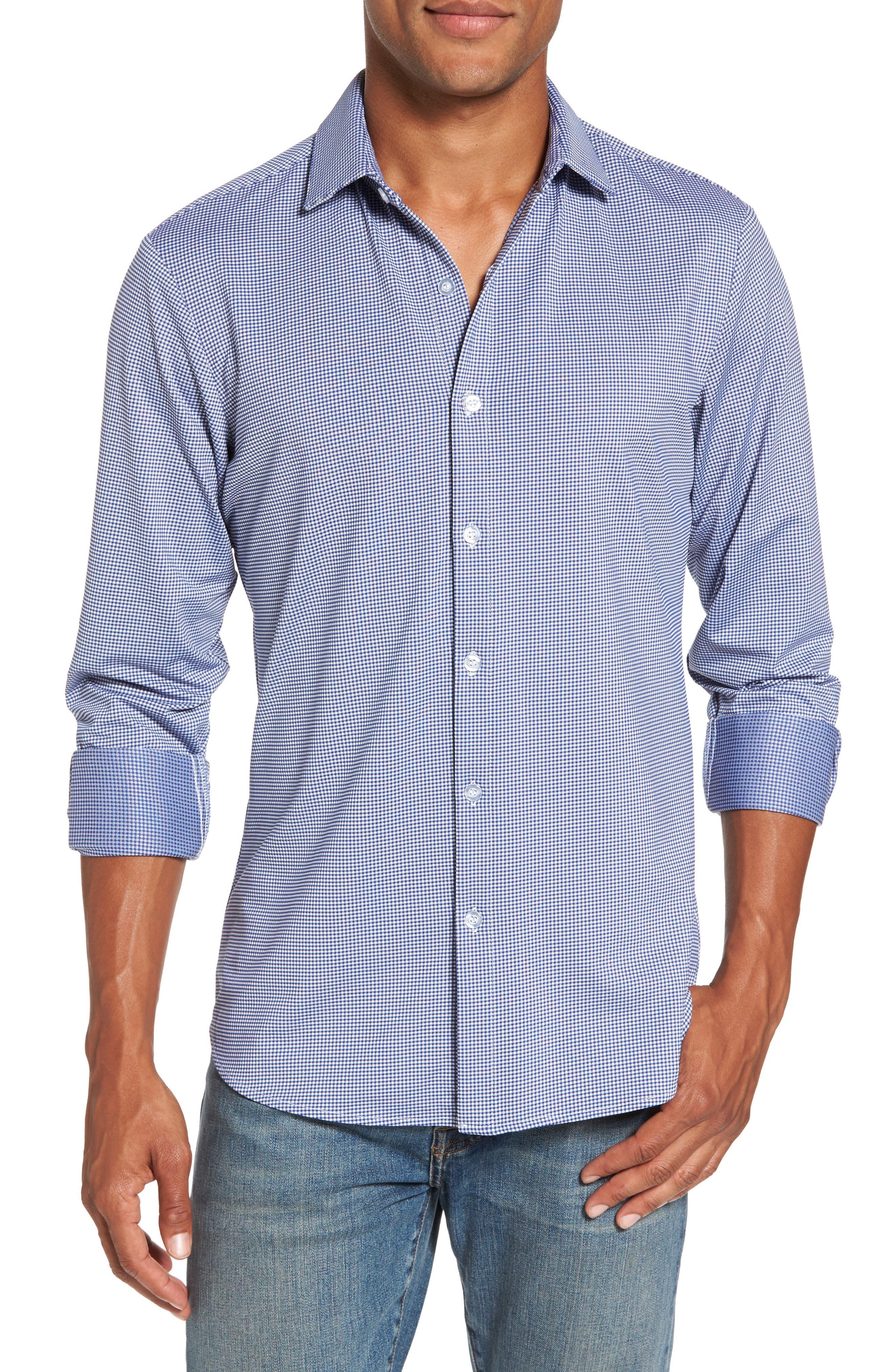 MIZZEN+MAIN, Beckett Trim Fit Gingham Sport Shirt, Main thumbnail 1, color, BLUE