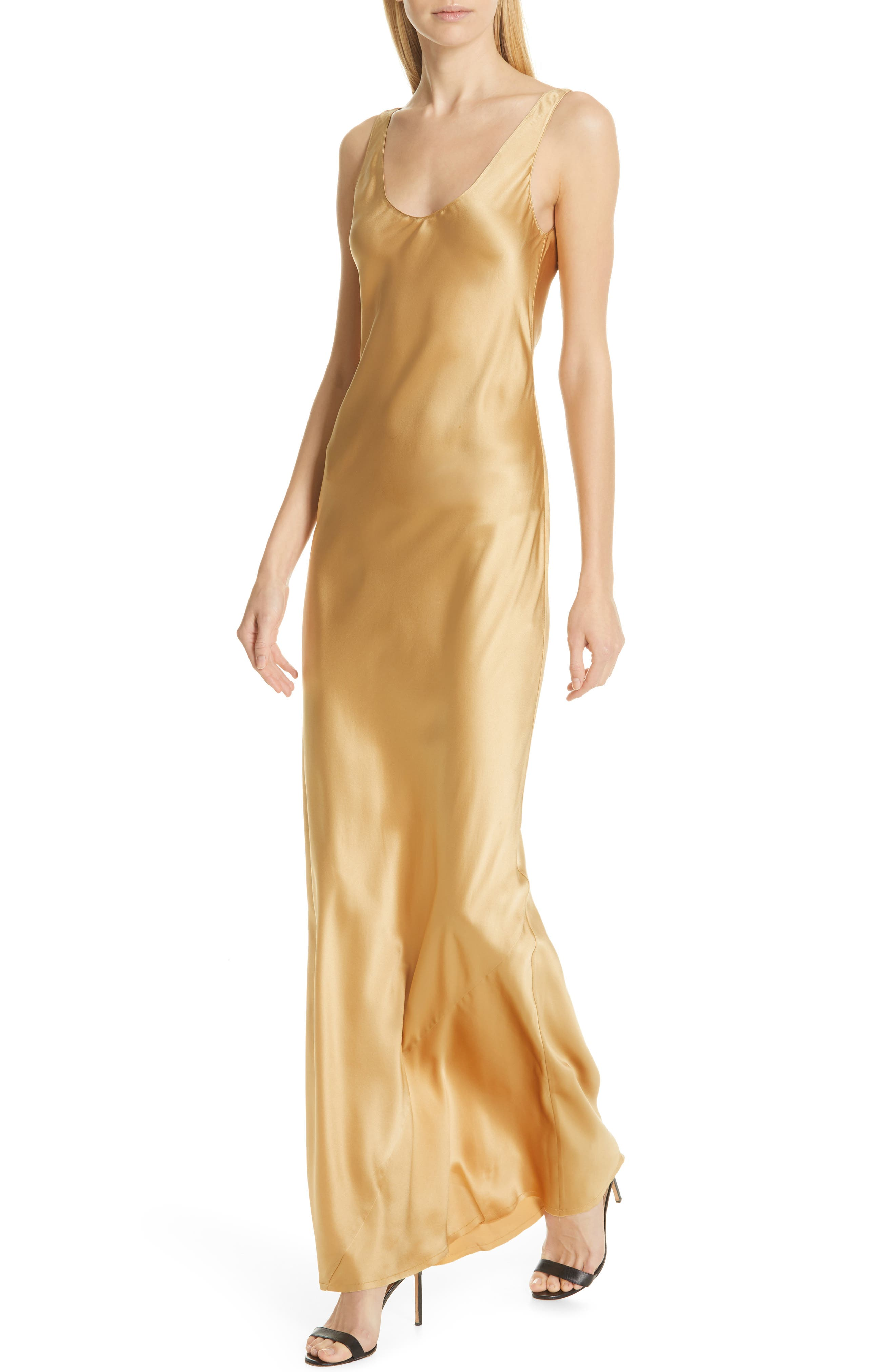 NILI LOTAN, Bazile Silk Evening Dress, Alternate thumbnail 4, color, GOLDEN