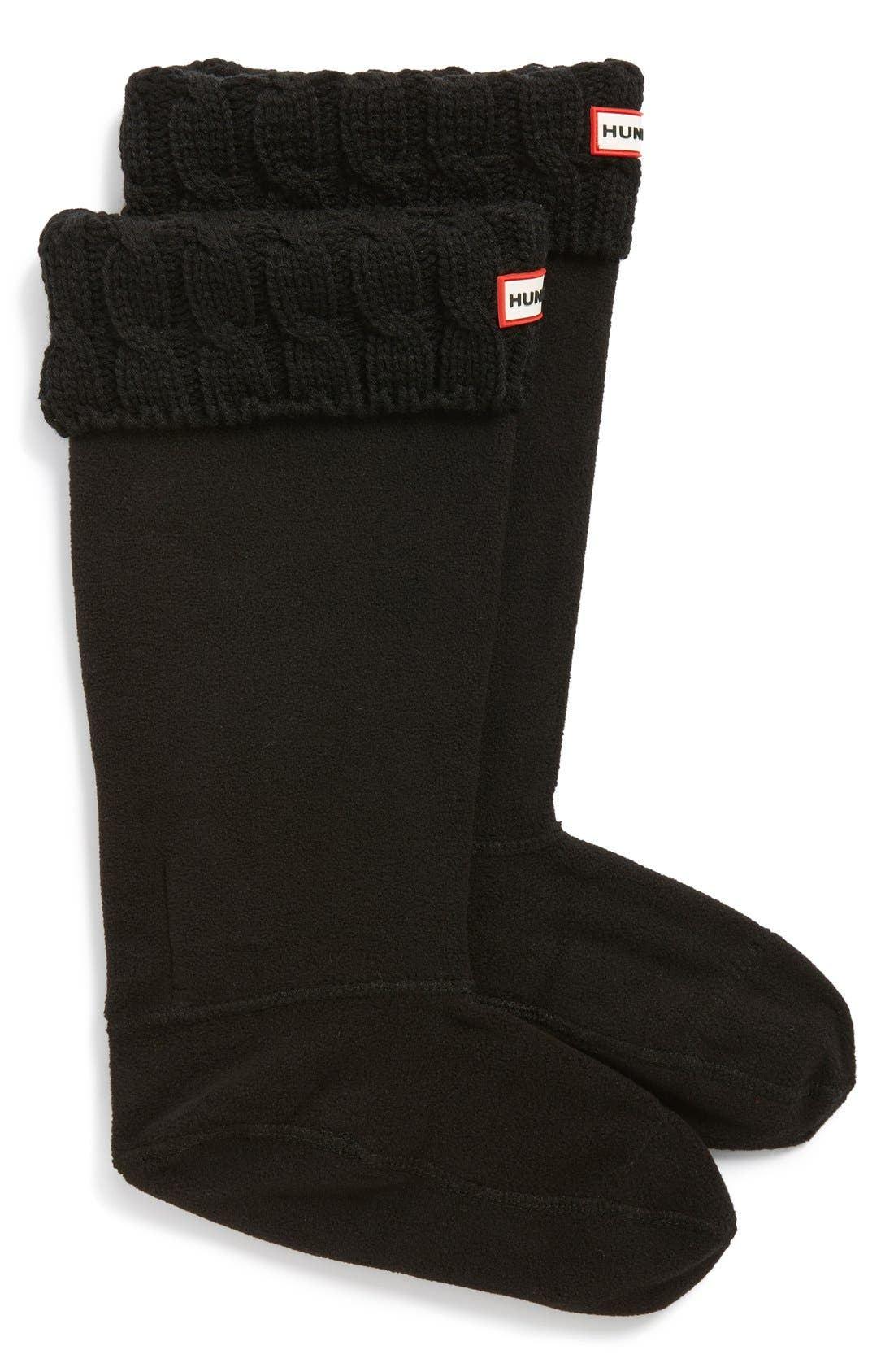 HUNTER, Original Tall Cable Knit Cuff Welly Boot Socks, Main thumbnail 1, color, BLACK