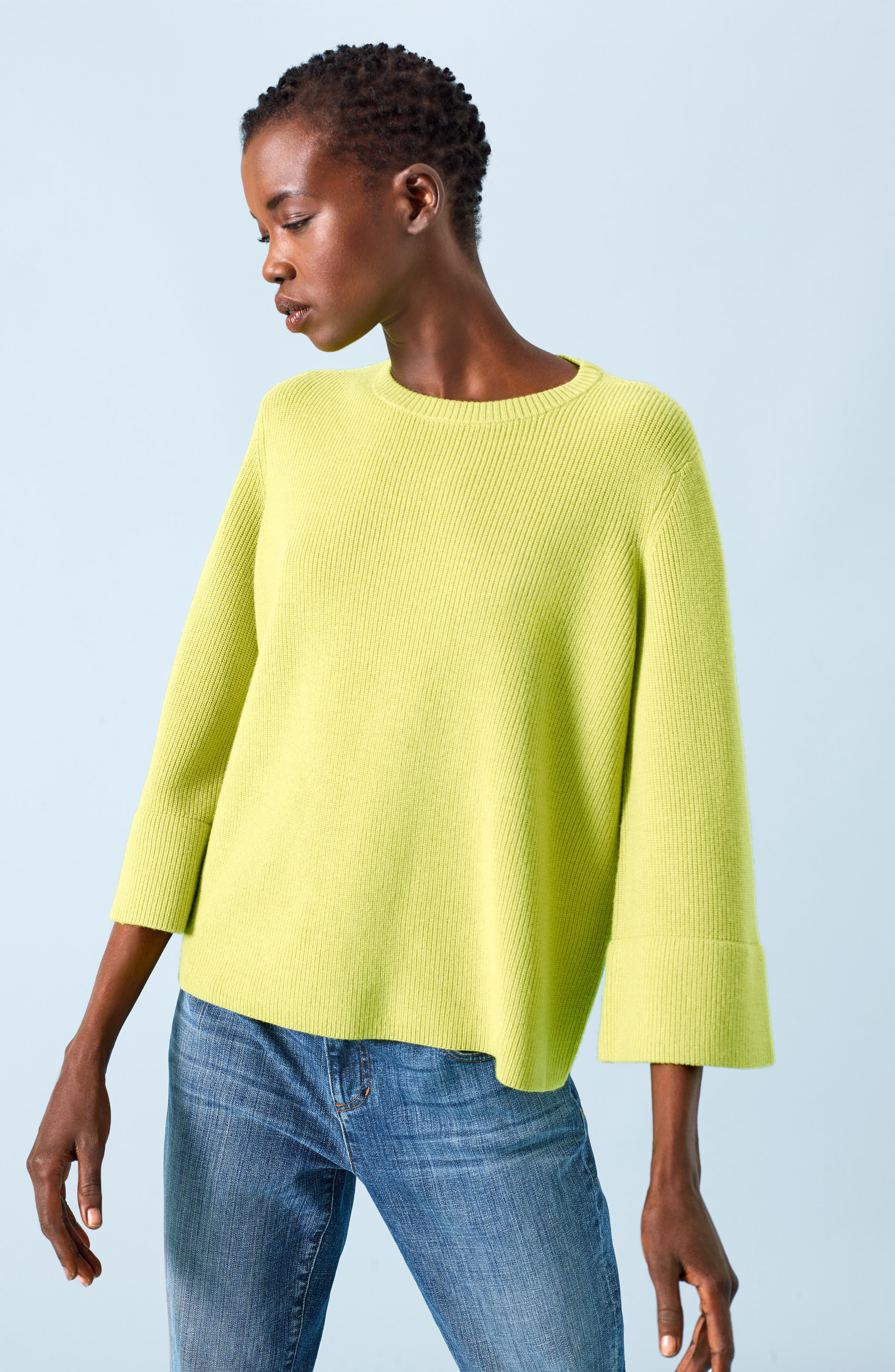 EILEEN FISHER, Three Quarter Sleeve Sweater, Alternate thumbnail 7, color, VERBENA