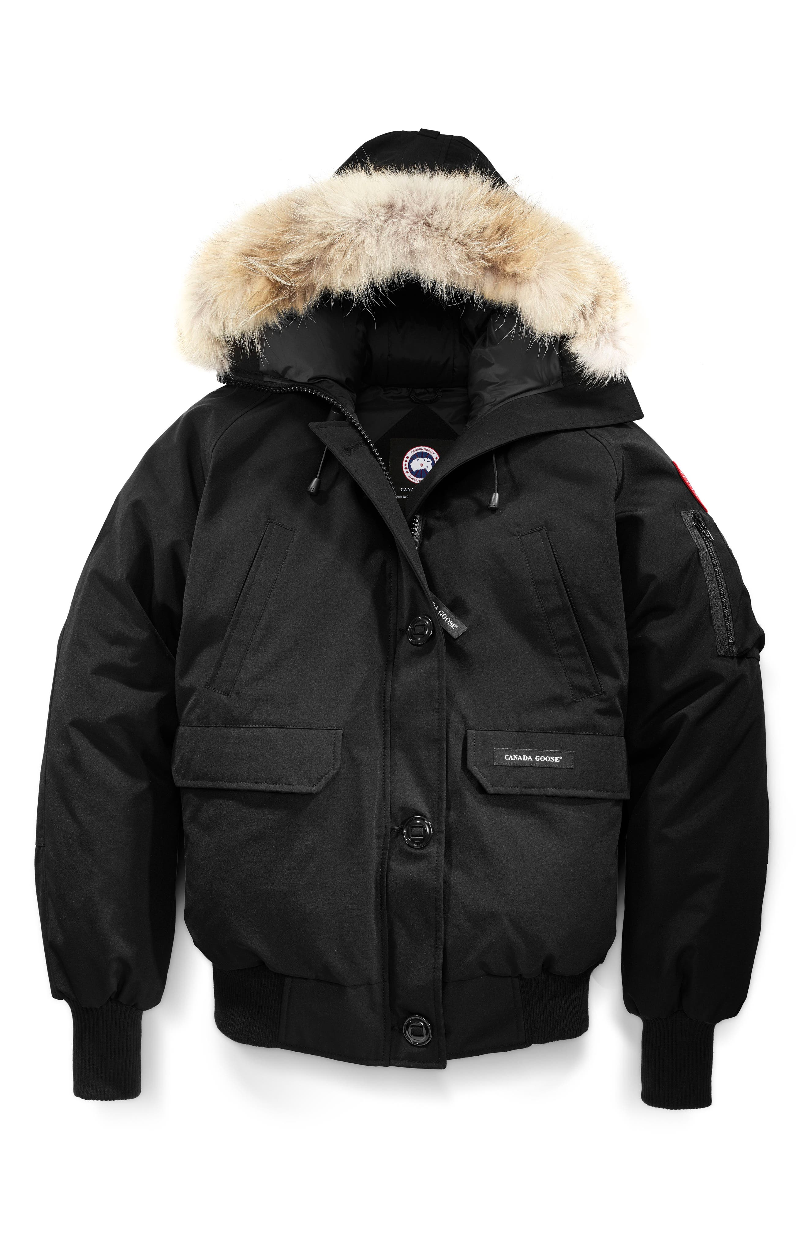 CANADA GOOSE, Chilliwack Fusion Fit 625 Fill Power Down Bomber Jacket with Genuine Coyote Fur Trim, Alternate thumbnail 4, color, BLACK