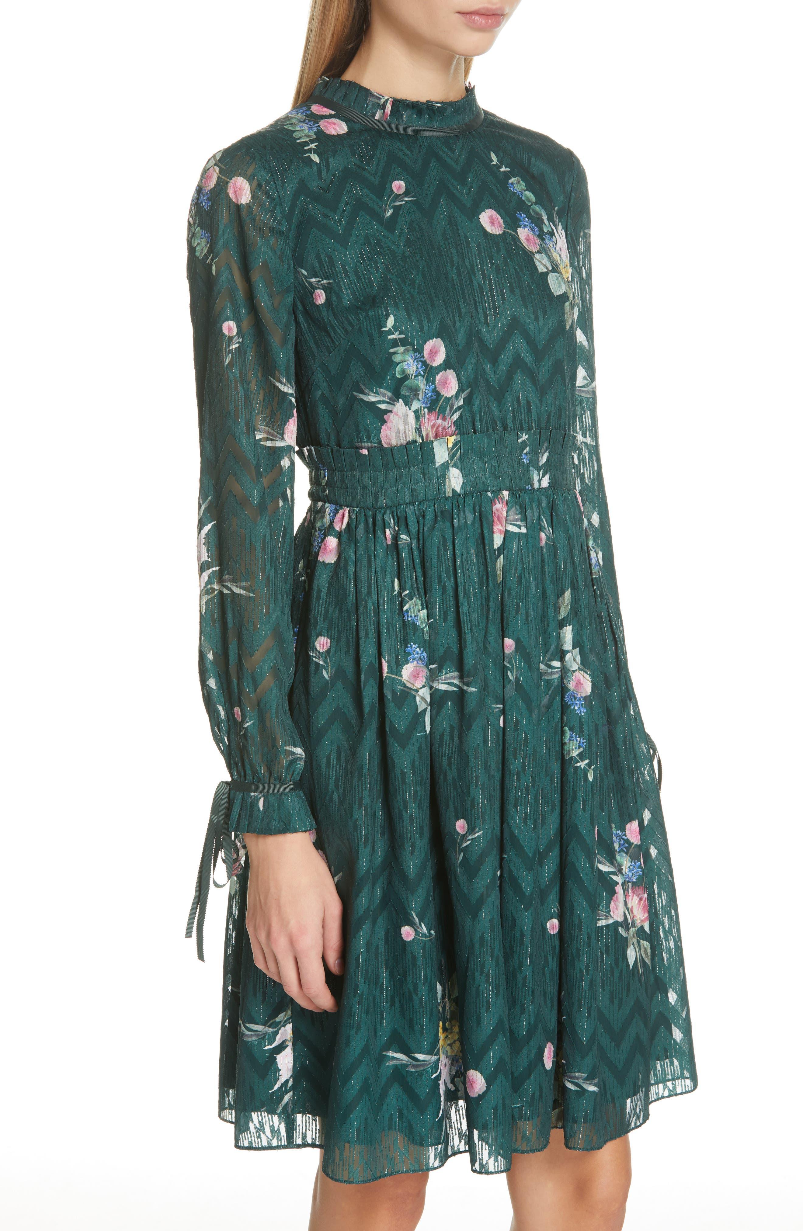 TED BAKER LONDON, Sofiya Floral Ribbon Tie Dress, Alternate thumbnail 5, color, DARK GREEN