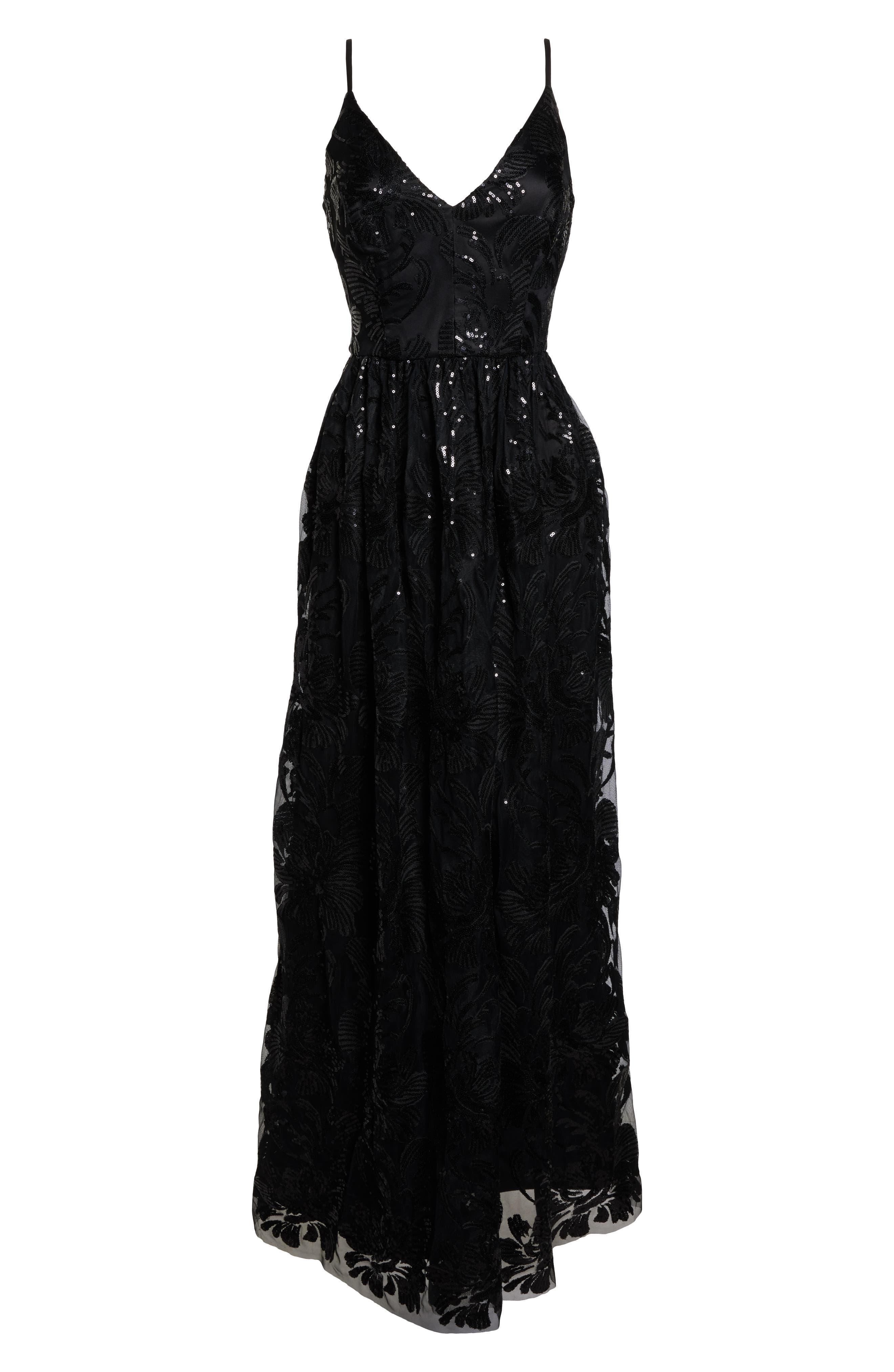 ELIZA J, Sequin Embroidered Mesh Evening Dress, Alternate thumbnail 7, color, BLACK