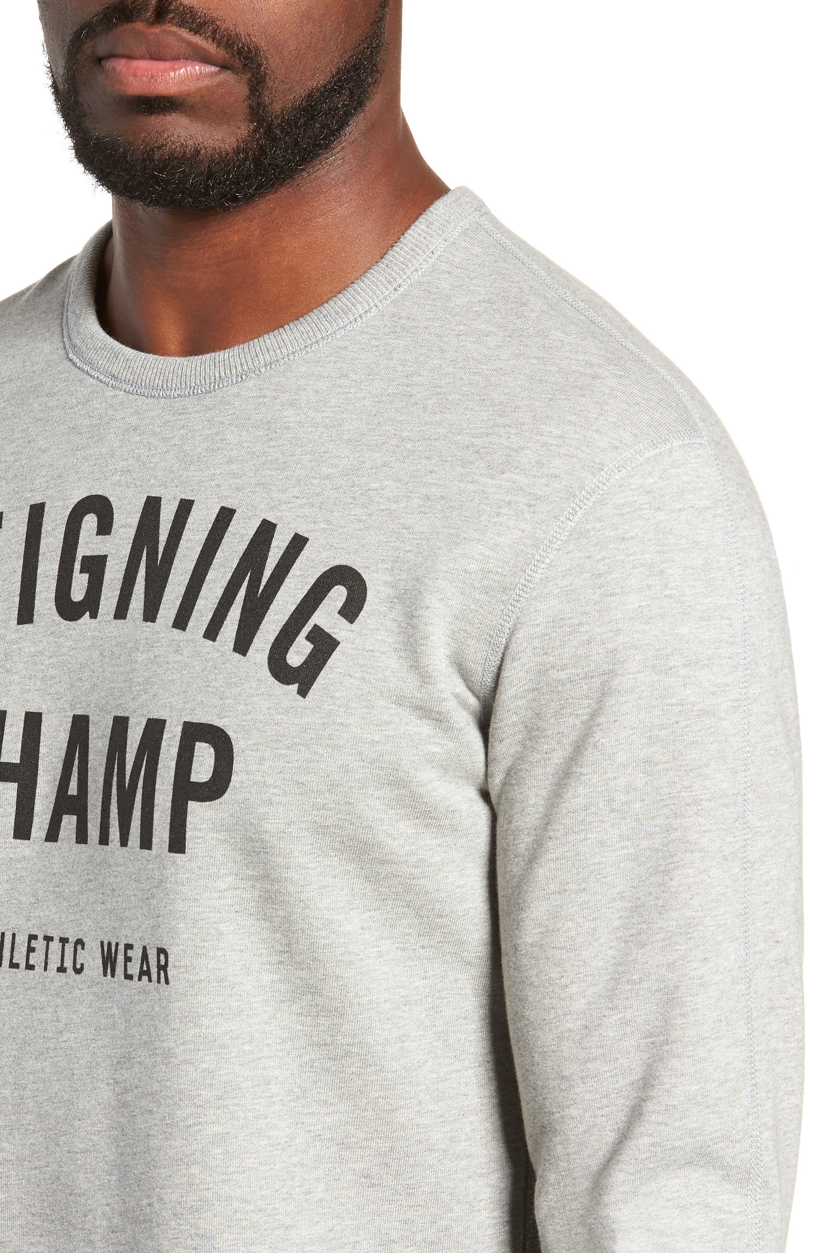 REIGNING CHAMP, Gym Logo Sweatshirt, Alternate thumbnail 4, color, HEATHER GREY/ BLACK