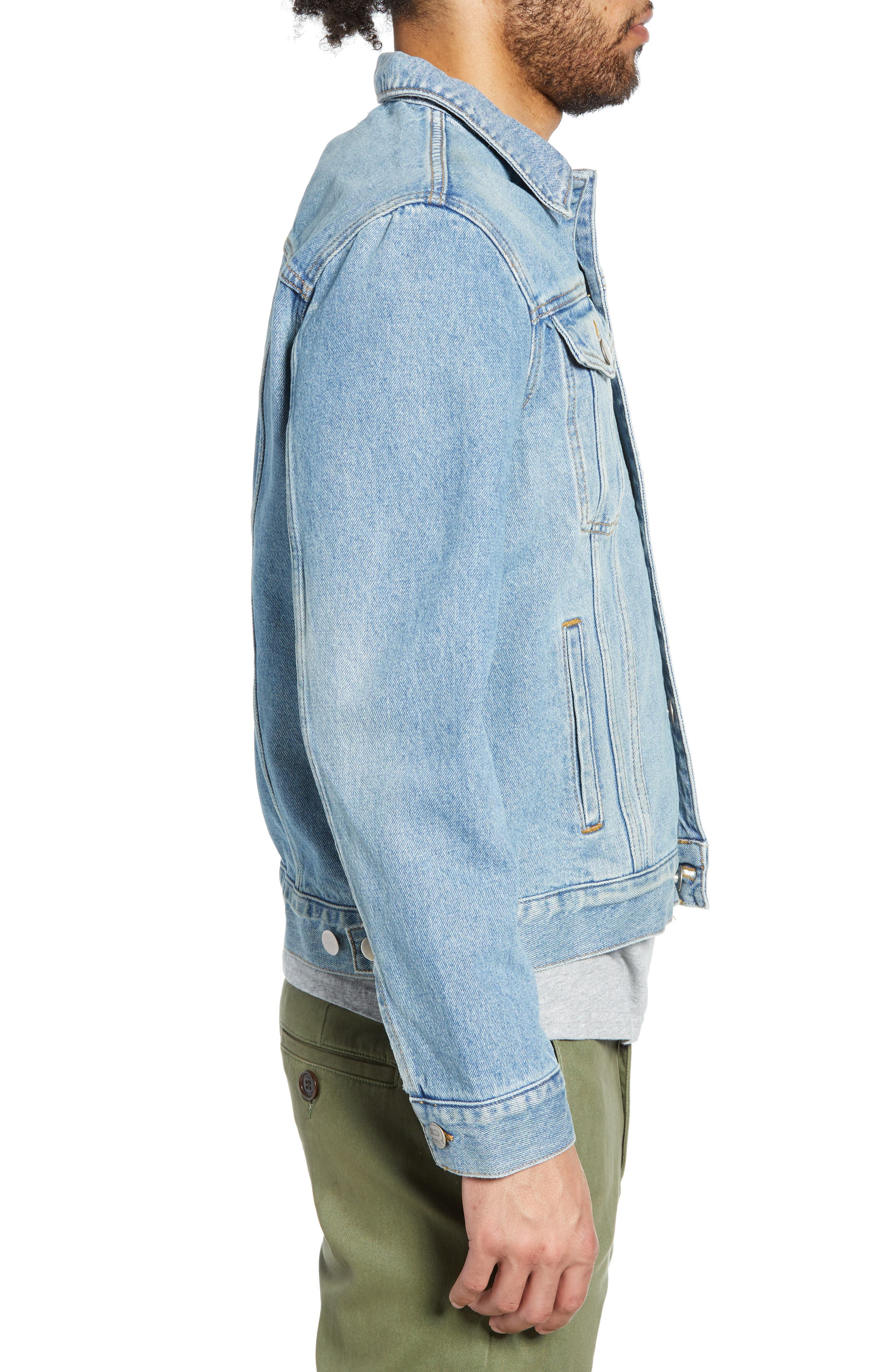 THE RAIL, Denim Jacket, Alternate thumbnail 4, color, BLUE TREK WASH