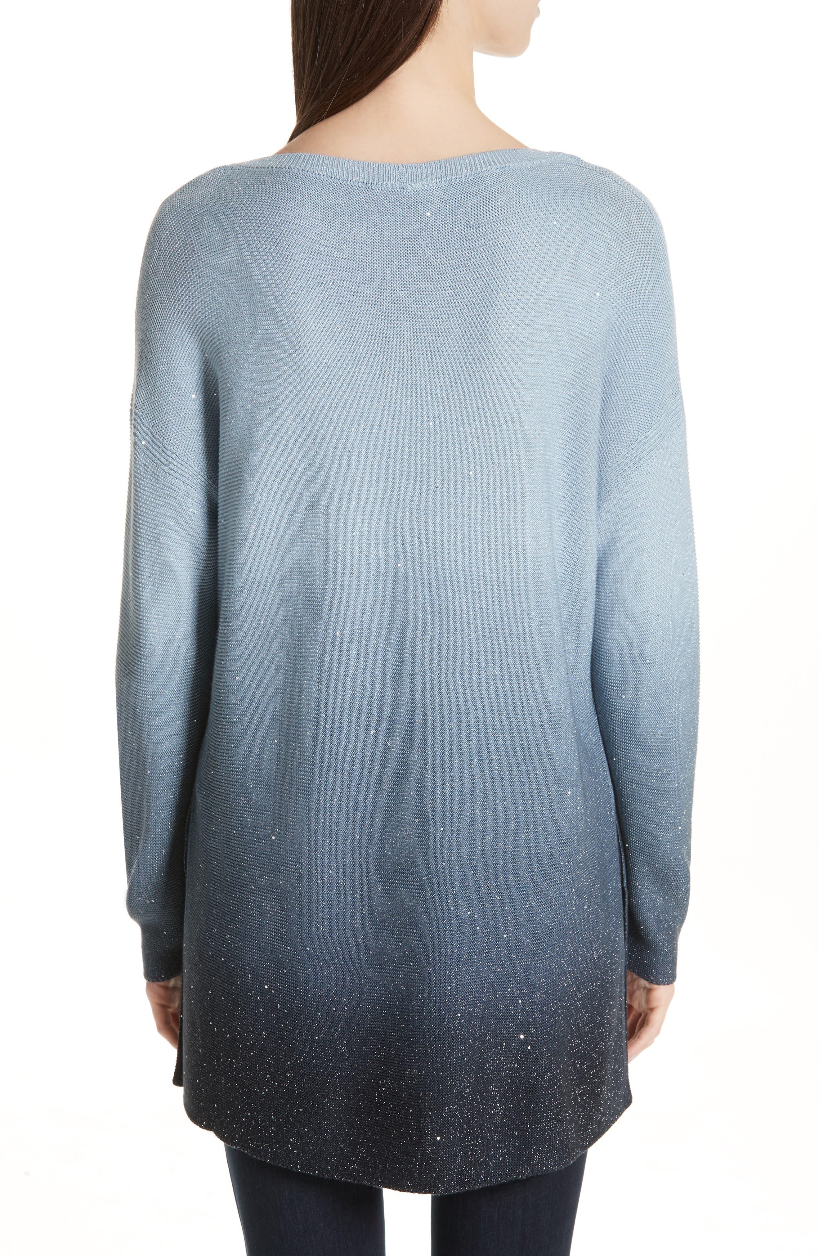 LAFAYETTE 148 NEW YORK, Sequin Ombré Silk Blend Tunic, Alternate thumbnail 2, color, SLATE BLUE MULTI