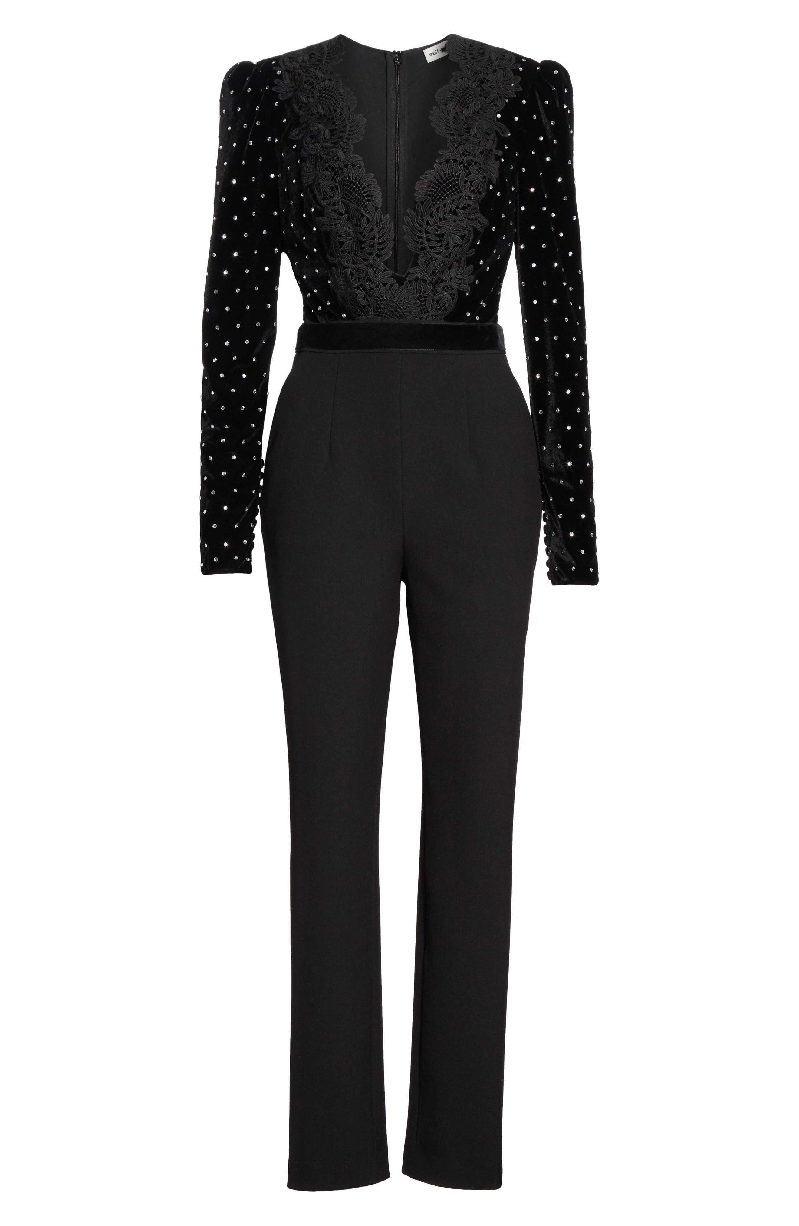 SELF-PORTRAIT, Lace Trim Velvet Diamante Jumpsuit, Alternate thumbnail 6, color, BLACK