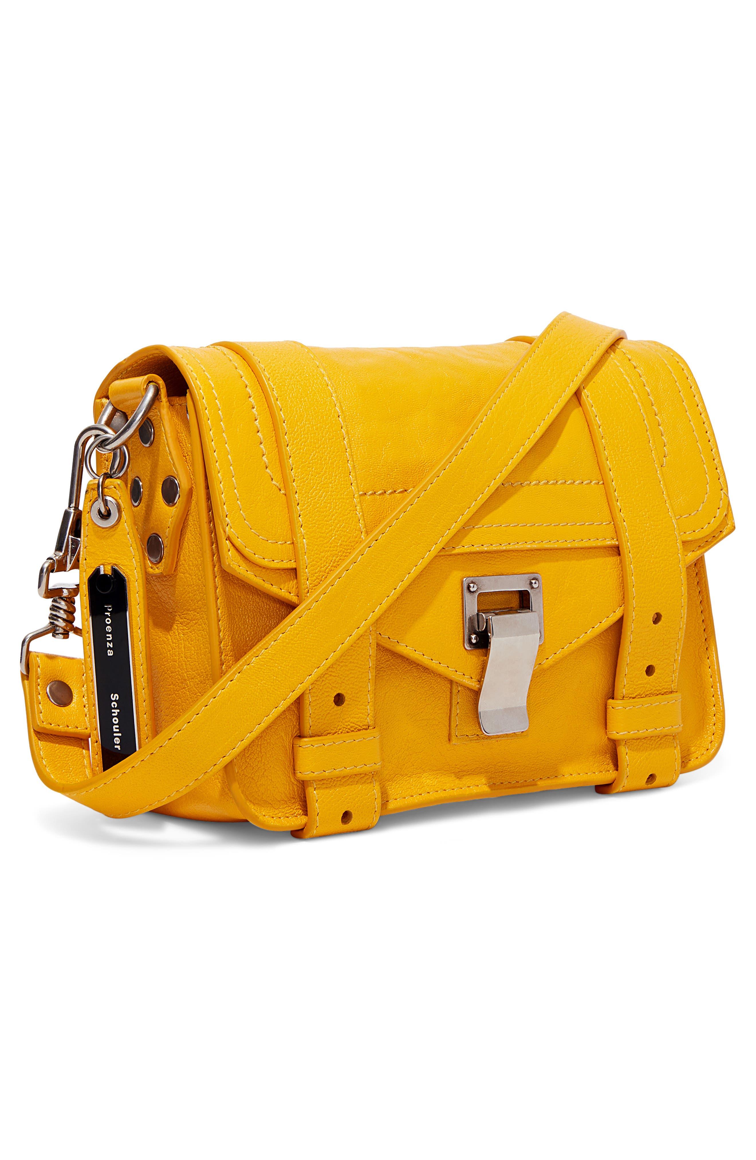PROENZA SCHOULER, 'Mini PS1' Lambskin Leather Crossbody Bag, Alternate thumbnail 5, color, LEMON CHROME